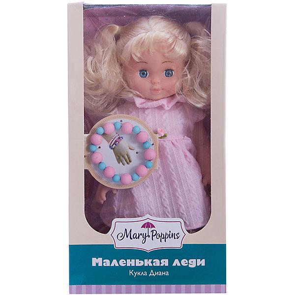 Кукла Диана Маленькая леди, Mary PoppinsКуклы<br>Кукла Диана Маленькая леди, Mary Poppins.<br><br>Характеристики:<br><br>• Комплектация: кукла, браслет<br>• Высота куклы: 9 см.<br>• Материал: ПВХ, пластик, текстиль<br>• Размер упаковки: 16х8х29 см.<br><br>Кукла Диана из серии Маленькая леди от фирмы Mary Poppins очарует маленьких девочек. У Дианы густые блестящие светлые волосы, собранные в 2 хвоста, и большие голубые глаза. Она  одета в милое розовое платьице. Кукла изготовлена из пластика и ПВХ. Глазки у куклы не закрываются. Вместе с ней в комплект входит браслет из бусинок, который юная обладательница куклы может носить на руке.<br><br>Куклу Диана Маленькая леди, Mary Poppins можно купить в нашем интернет-магазине.<br><br>Ширина мм: 155<br>Глубина мм: 80<br>Высота мм: 290<br>Вес г: 365<br>Возраст от месяцев: 24<br>Возраст до месяцев: 2147483647<br>Пол: Женский<br>Возраст: Детский<br>SKU: 5402750