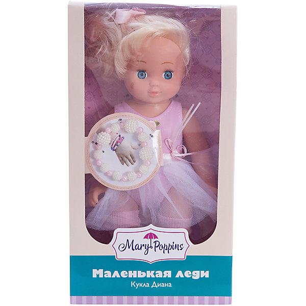 Кукла Диана Маленькая леди, Mary PoppinsКуклы<br>Кукла Диана Маленькая леди, Mary Poppins.<br><br>Характеристики:<br><br>• Комплектация: кукла, браслет<br>• Высота куклы: 9 см.<br>• Материал: ПВХ, пластик, текстиль<br>• Размер упаковки: 16х8х29 см.<br><br>Кукла Диана из серии Маленькая леди от фирмы Mary Poppins очарует маленьких девочек. У Дианы большие голубые глаза, блестящие светлые волосы, собранные в хвостик и украшенные розовой лентой. Она одета в элегантное розовое платье, юбка которого напоминает балетную пачку. Диана выглядит как настоящая леди. Вместе с ней в комплект входит браслет из бусинок, который юная обладательница куклы может носить на руке. Глазки у куклы не закрываются. Кукла изготовлена из пластика и ПВХ.<br><br>Куклу Диана Маленькая леди, Mary Poppins можно купить в нашем интернет-магазине.<br>Ширина мм: 160; Глубина мм: 85; Высота мм: 300; Вес г: 365; Возраст от месяцев: 24; Возраст до месяцев: 2147483647; Пол: Женский; Возраст: Детский; SKU: 5402752;