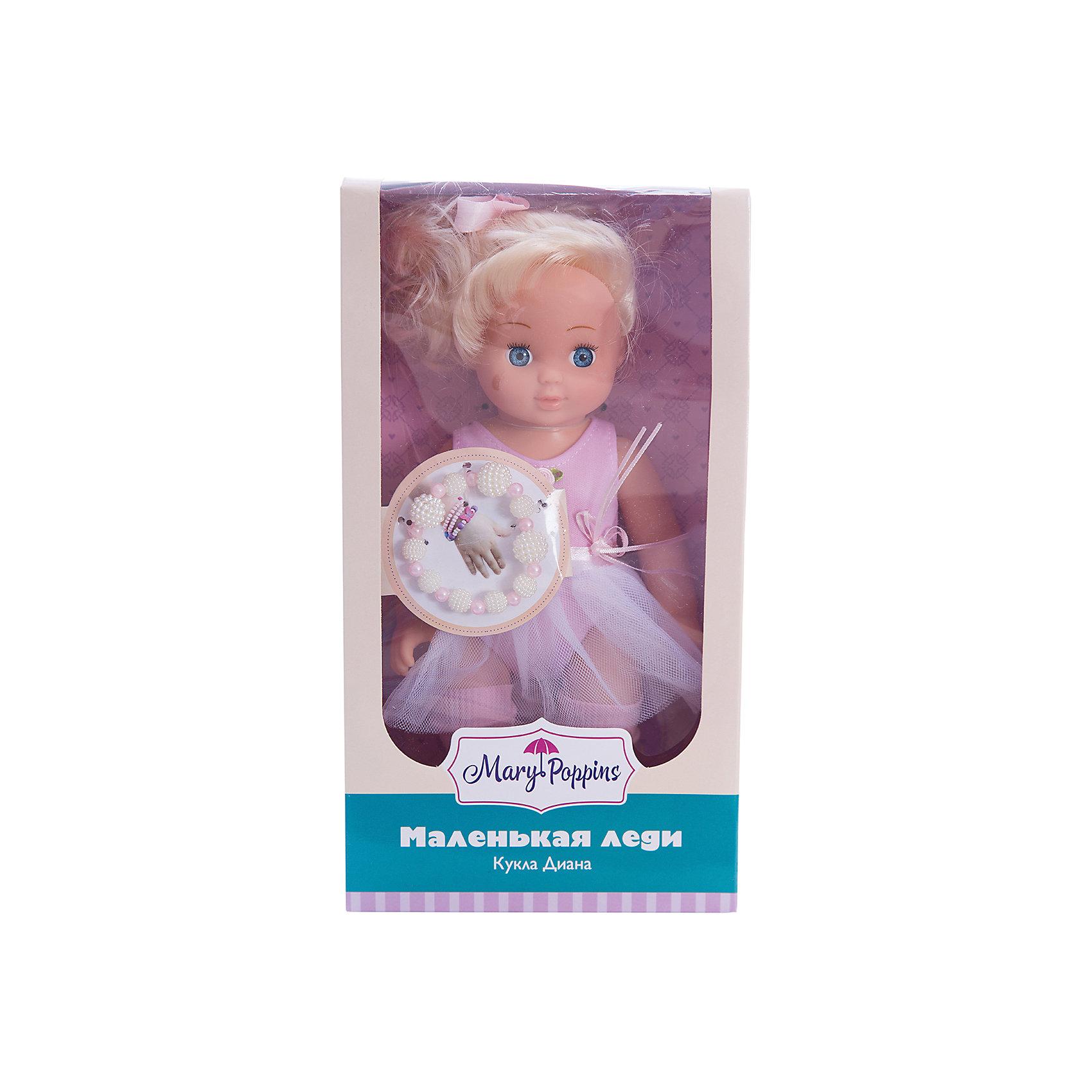 Кукла Диана Маленькая леди, Mary PoppinsКуклы<br>Кукла Диана Маленькая леди, Mary Poppins.<br><br>Характеристики:<br><br>• Комплектация: кукла, браслет<br>• Высота куклы: 9 см.<br>• Материал: ПВХ, пластик, текстиль<br>• Размер упаковки: 16х8х29 см.<br><br>Кукла Диана из серии Маленькая леди от фирмы Mary Poppins очарует маленьких девочек. У Дианы большие голубые глаза, блестящие светлые волосы, собранные в хвостик и украшенные розовой лентой. Она одета в элегантное розовое платье, юбка которого напоминает балетную пачку. Диана выглядит как настоящая леди. Вместе с ней в комплект входит браслет из бусинок, который юная обладательница куклы может носить на руке. Глазки у куклы не закрываются. Кукла изготовлена из пластика и ПВХ.<br><br>Куклу Диана Маленькая леди, Mary Poppins можно купить в нашем интернет-магазине.<br><br>Ширина мм: 160<br>Глубина мм: 85<br>Высота мм: 300<br>Вес г: 365<br>Возраст от месяцев: 24<br>Возраст до месяцев: 2147483647<br>Пол: Женский<br>Возраст: Детский<br>SKU: 5402752