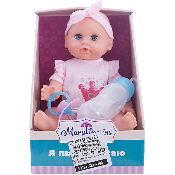 Кукла Минни Пью и писаю, 25 см, Mary PoppinsКуклы<br>Кукла Минни Пью и писаю, 25 см, Mary Poppins.<br><br>Характеристики:<br><br>• Комплектация: кукла, горшок, бутылочка, подгузник<br>• Высота куклы: 25 см.<br>• Материал: ПВХ, пластик, текстиль<br>• Упаковка: картонная коробка открытого типа<br>• Размер упаковки: 15х16х21 см.<br><br>Кукла Минни торговой марки Mary Poppins с функцией Пью и писаю отлично подойдет для сюжетно-ролевых игр в «дочки-матери». В комплекте с куклой поставляется горшок, бутылочка и настоящий подгузник. Можно напоить куколку из бутылочки водой и посадить на горшок или надеть ей подгузник. Кукла одета в боди из эксклюзивной коллекции Корона. На голове у куклы — кокетливая розовая повязка. Минни можно купать в ванной (тельце у куклы твердое) и укладывать спать - в горизонтальном положении ее глаза закрываются.<br><br>Куклу Минни Пью и писаю, 25 см, Mary Poppins можно купить в нашем интернет-магазине.<br><br>Ширина мм: 150<br>Глубина мм: 160<br>Высота мм: 205<br>Вес г: 313<br>Возраст от месяцев: 24<br>Возраст до месяцев: 2147483647<br>Пол: Женский<br>Возраст: Детский<br>SKU: 5402753