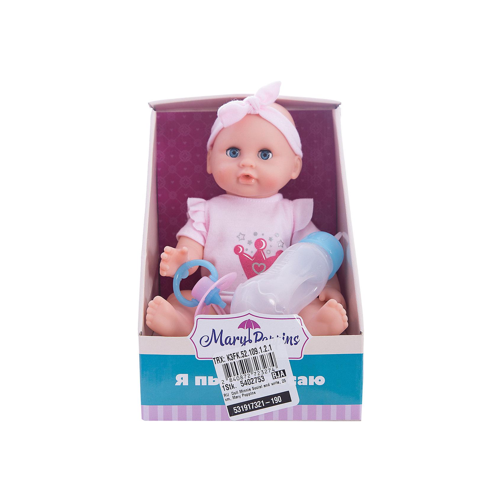 Кукла Минни Пью и писаю, 25 см, Mary PoppinsКуклы-пупсы<br>Кукла Минни Пью и писаю, 25 см, Mary Poppins.<br><br>Характеристики:<br><br>• Комплектация: кукла, горшок, бутылочка, подгузник<br>• Высота куклы: 25 см.<br>• Материал: ПВХ, пластик, текстиль<br>• Упаковка: картонная коробка открытого типа<br>• Размер упаковки: 15х16х21 см.<br><br>Кукла Минни торговой марки Mary Poppins с функцией Пью и писаю отлично подойдет для сюжетно-ролевых игр в «дочки-матери». В комплекте с куклой поставляется горшок, бутылочка и настоящий подгузник. Можно напоить куколку из бутылочки водой и посадить на горшок или надеть ей подгузник. Кукла одета в боди из эксклюзивной коллекции Корона. На голове у куклы — кокетливая розовая повязка. Минни можно купать в ванной (тельце у куклы твердое) и укладывать спать - в горизонтальном положении ее глаза закрываются.<br><br>Куклу Минни Пью и писаю, 25 см, Mary Poppins можно купить в нашем интернет-магазине.<br><br>Ширина мм: 150<br>Глубина мм: 160<br>Высота мм: 205<br>Вес г: 313<br>Возраст от месяцев: 24<br>Возраст до месяцев: 2147483647<br>Пол: Женский<br>Возраст: Детский<br>SKU: 5402753