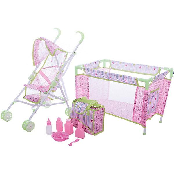 Игровой набор Deluxe Кроватка с коляской, Mary PoppinsМебель для кукол<br>Игровой набор Deluxe Кроватка с коляской, Mary Poppins.<br><br>Характеристики:<br><br>• Комплектация: коляска, кроватка, сумка с аксессуарами<br>• Материал: пластик, текстиль<br>• Упаковка: картонная коробка<br><br>Игровой набор Deluxe - включает в себя кроватку, коляску и сумочку с аксессуарами. Набор отлично подойдет для сюжетно-ролевых игр в «дочки-матери». Любимую куклу можно сначала вывести на прогулку, посадив в удобную коляску. Затем покормить ее из бутылочки. А уже дома, когда куклу немного утомит прогулка, уложить спать в кроватку. Ваша девочка, несомненно, будет рада такому набору, каждый день, представляя себя маленькой мамой, заботящейся о своем малыше.<br><br>Игровой набор Deluxe Кроватка с коляской, Mary Poppins можно купить в нашем интернет-магазине.<br><br>Ширина мм: 622<br>Глубина мм: 140<br>Высота мм: 400<br>Вес г: 2375<br>Возраст от месяцев: 24<br>Возраст до месяцев: 2147483647<br>Пол: Женский<br>Возраст: Детский<br>SKU: 5402757