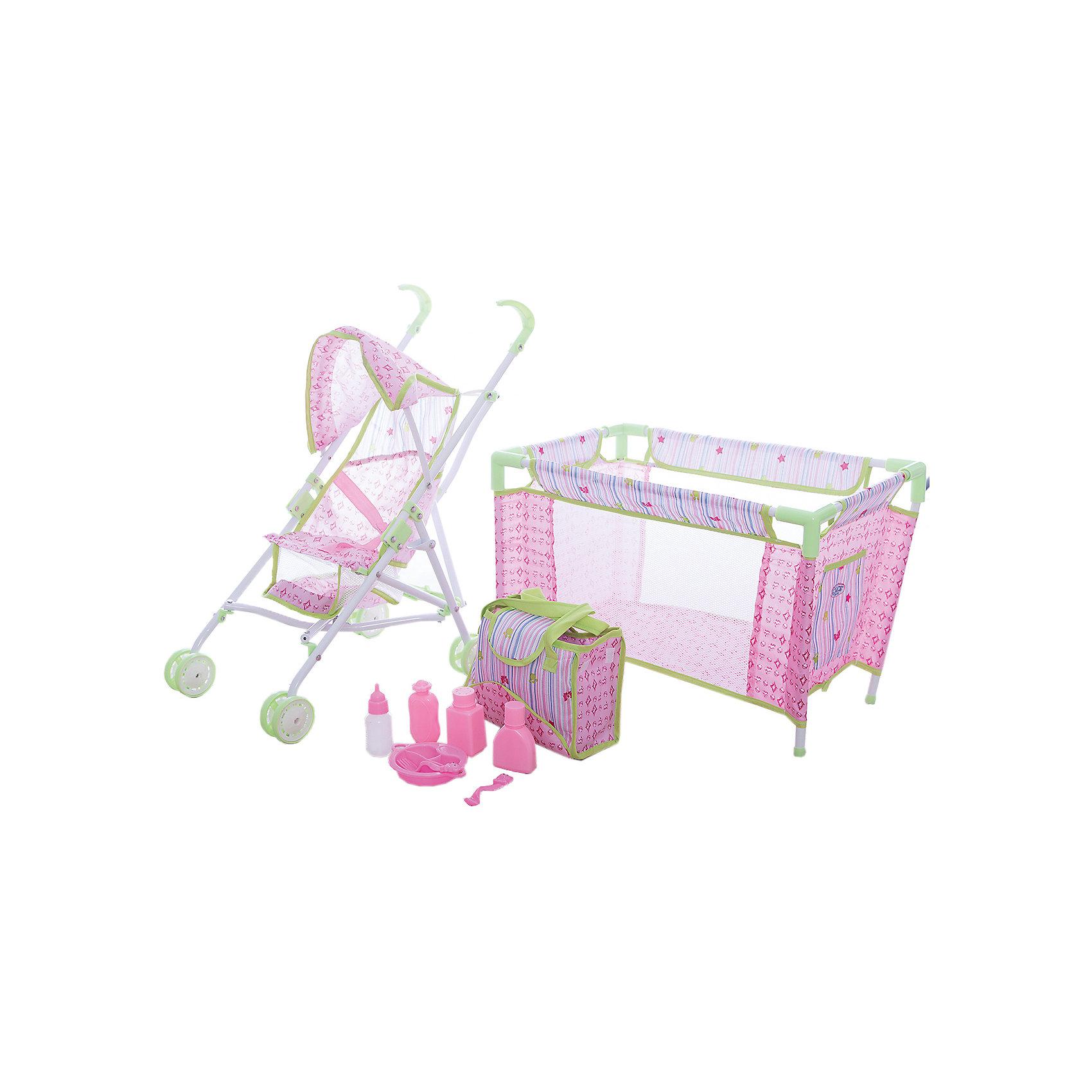 Игровой набор Deluxe Кроватка с коляской, Mary PoppinsКоляски и транспорт для кукол<br>Игровой набор Deluxe Кроватка с коляской, Mary Poppins.<br><br>Характеристики:<br><br>• Комплектация: коляска, кроватка, сумка с аксессуарами<br>• Материал: пластик, текстиль<br>• Упаковка: картонная коробка<br><br>Игровой набор Deluxe - включает в себя кроватку, коляску и сумочку с аксессуарами. Набор отлично подойдет для сюжетно-ролевых игр в «дочки-матери». Любимую куклу можно сначала вывести на прогулку, посадив в удобную коляску. Затем покормить ее из бутылочки. А уже дома, когда куклу немного утомит прогулка, уложить спать в кроватку. Ваша девочка, несомненно, будет рада такому набору, каждый день, представляя себя маленькой мамой, заботящейся о своем малыше.<br><br>Игровой набор Deluxe Кроватка с коляской, Mary Poppins можно купить в нашем интернет-магазине.<br><br>Ширина мм: 622<br>Глубина мм: 140<br>Высота мм: 400<br>Вес г: 2375<br>Возраст от месяцев: 24<br>Возраст до месяцев: 2147483647<br>Пол: Женский<br>Возраст: Детский<br>SKU: 5402757