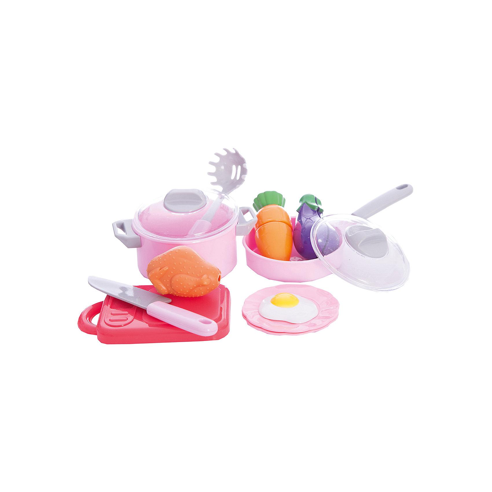 Набор посуды для готовки в сетке, 12 предметов, Mary PoppinsНабор посуды для готовки в сетке, 12 предметов, Mary Poppins.<br><br>Характеристики:<br><br>• Комплектация: разделочная доска, нож, сковорода с крышкой, кастрюля с крышкой, 2 части моркови, 2 части баклажана, курица, яичница, ложка для спагетти, 2 тарелки<br>• Материал: пластмасса<br>• Упаковка: сетка<br><br>Игровой набор для готовки от компании Mary Poppins состоит из игрушечной посуды и игрушечных продуктов. Овощи (баклажан и морковь) мальчики и девочки смогут разрезать на две части, используя пластмассовый ножик. А используя кастрюлю, сковородку и муляжи продуктов (курицу и яичницу), приготовить разнообразные воображаемые блюда. Набор для готовки станет прекрасным дополнением детской кухни или другой кухонной посуды вашего ребенка. Играя с набором, ваш малыш разовьет воображение и получит начальные навыки работы с ножом. Все элементы набора изготовлены из качественной гипоаллергенной пластмассы.<br><br>Набор посуды для готовки в сетке, 12 предметов, Mary Poppins можно купить в нашем интернет-магазине.<br><br>Ширина мм: 200<br>Глубина мм: 80<br>Высота мм: 150<br>Вес г: 238<br>Возраст от месяцев: 24<br>Возраст до месяцев: 2147483647<br>Пол: Женский<br>Возраст: Детский<br>SKU: 5402763