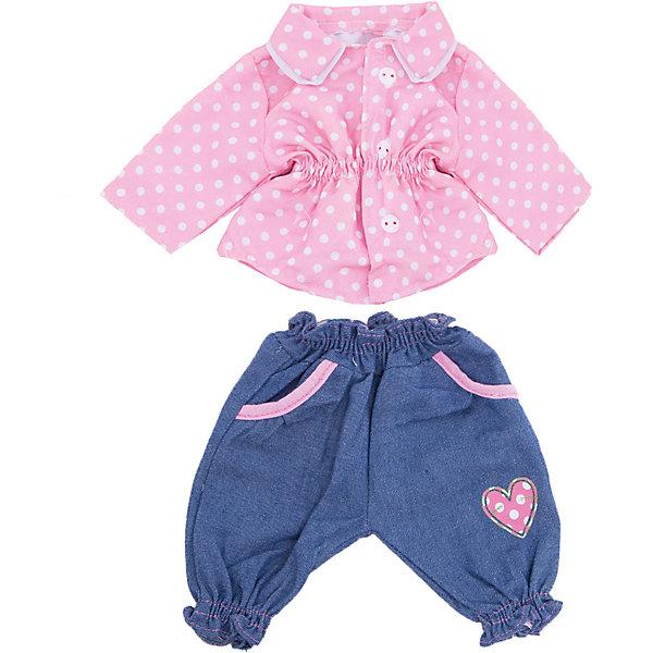 Одежда для куклы 42 см, кофточка и штанишки, Mary PoppinsОдежда для кукол<br>Одежда для куклы 42 см, кофточка и штанишки, Mary Poppins.<br><br>Характеристики:<br><br>• Комплектация: кофточка, штанишки, вешалка<br>• Высота куклы: 38-42 см.<br>• Материал: текстиль<br>• Цвет: розовый, синий, белый<br>• Упаковка: пакет<br>• Уход: стирка в стиральной машине при температуре 30 ?С<br><br>Куклы тоже любят менять наряды! И для них создается стильная и модная одежда, похожая на одежду для настоящих малышей. Эти синие штанишки с небольшим сердечком на передней стороне и симпатичная нежно-розовая кофточка в горошек ТМ Mary Poppins пополнят гардероб куклы высотой 38-42 см. Наряд для куклы изготовлен из приятной на ощупь ткани, благодаря липучкам кофточку легко снимать и одевать.<br><br>Одежду для куклы 42 см, кофточка и штанишки, Mary Poppins можно купить в нашем интернет-магазине.<br><br>Ширина мм: 220<br>Глубина мм: 330<br>Высота мм: 10<br>Вес г: 103<br>Возраст от месяцев: 24<br>Возраст до месяцев: 2147483647<br>Пол: Женский<br>Возраст: Детский<br>SKU: 5402768