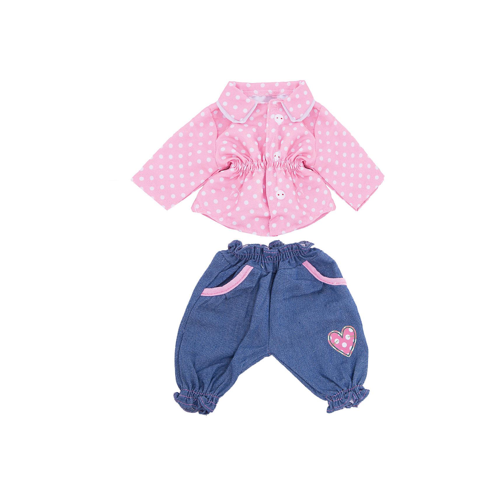 Одежда для куклы 42 см, кофточка и штанишки, Mary PoppinsКукольная одежда и аксессуары<br>Одежда для куклы 42 см, кофточка и штанишки, Mary Poppins.<br><br>Характеристики:<br><br>• Комплектация: кофточка, штанишки, вешалка<br>• Высота куклы: 38-42 см.<br>• Материал: текстиль<br>• Цвет: розовый, синий, белый<br>• Упаковка: пакет<br>• Уход: стирка в стиральной машине при температуре 30 ?С<br><br>Куклы тоже любят менять наряды! И для них создается стильная и модная одежда, похожая на одежду для настоящих малышей. Эти синие штанишки с небольшим сердечком на передней стороне и симпатичная нежно-розовая кофточка в горошек ТМ Mary Poppins пополнят гардероб куклы высотой 38-42 см. Наряд для куклы изготовлен из приятной на ощупь ткани, благодаря липучкам кофточку легко снимать и одевать.<br><br>Одежду для куклы 42 см, кофточка и штанишки, Mary Poppins можно купить в нашем интернет-магазине.<br><br>Ширина мм: 220<br>Глубина мм: 330<br>Высота мм: 10<br>Вес г: 103<br>Возраст от месяцев: 24<br>Возраст до месяцев: 2147483647<br>Пол: Женский<br>Возраст: Детский<br>SKU: 5402768