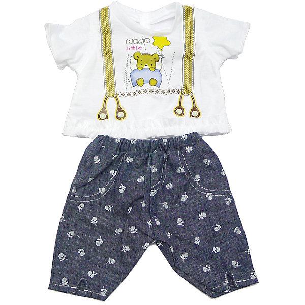Одежда для куклы 42 см, кофточка и штанишки, Mary PoppinsОдежда для кукол<br>Одежда для куклы 42 см, кофточка и штанишки, Mary Poppins.<br><br>Характеристики:<br><br>• Комплектация: кофточка, штанишки, вешалка<br>• Высота куклы: 42 см.<br>• Материал: текстиль<br>• Цвет: синий, белый<br>• Упаковка: пакет<br>• Уход: стирка в стиральной машине при температуре 30 ?С<br><br>Куклы тоже любят менять наряды! И для них создается стильная и модная одежда, похожая на одежду для настоящих малышей. Этот нарядный костюмчик из эксклюзивной коллекции ТМ Mary Poppins пополнит гардероб куклы высотой 42 см. Костюмчик состоит из штанишек-шортиков, похожих на джинсовые, и белой футболки, на которой изображены подтяжки и медвежонок в кроватке. Низ футболки отделан оборкой. Наряд для куклы изготовлен из приятной на ощупь ткани, его легко снимать и одевать.<br><br>Одежду для куклы 42 см, кофточка и штанишки, Mary Poppins можно купить в нашем интернет-магазине.<br><br>Ширина мм: 220<br>Глубина мм: 330<br>Высота мм: 10<br>Вес г: 90<br>Возраст от месяцев: 24<br>Возраст до месяцев: 2147483647<br>Пол: Женский<br>Возраст: Детский<br>SKU: 5402769