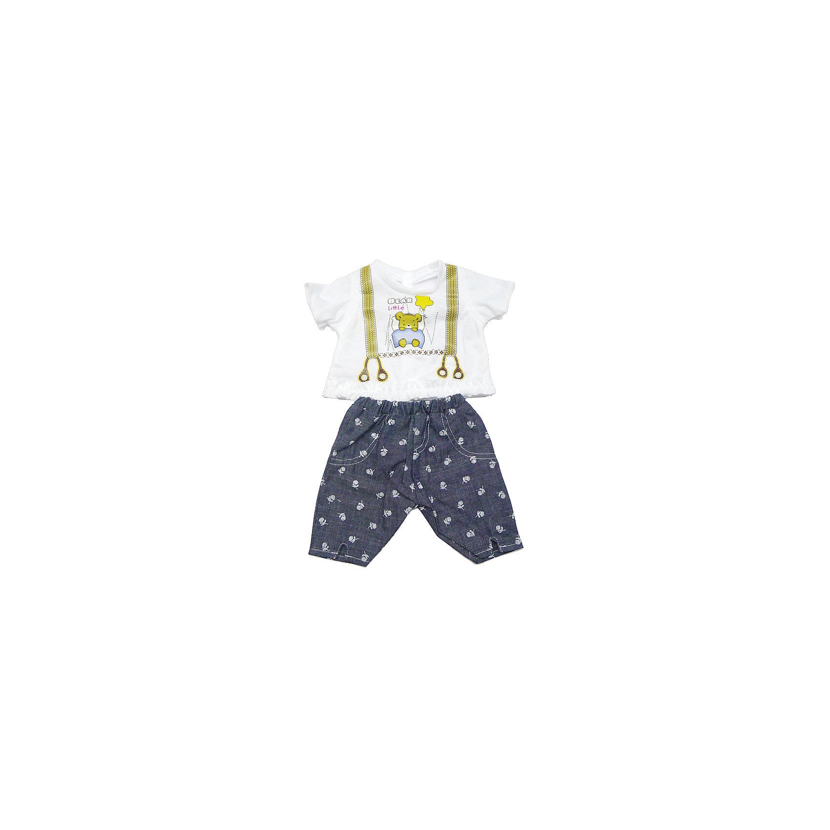 Одежда для куклы 42 см, кофточка и штанишки, Mary PoppinsКукольная одежда и аксессуары<br>Одежда для куклы 42 см, кофточка и штанишки, Mary Poppins.<br><br>Характеристики:<br><br>• Комплектация: кофточка, штанишки, вешалка<br>• Высота куклы: 42 см.<br>• Материал: текстиль<br>• Цвет: синий, белый<br>• Упаковка: пакет<br>• Уход: стирка в стиральной машине при температуре 30 ?С<br><br>Куклы тоже любят менять наряды! И для них создается стильная и модная одежда, похожая на одежду для настоящих малышей. Этот нарядный костюмчик из эксклюзивной коллекции ТМ Mary Poppins пополнит гардероб куклы высотой 42 см. Костюмчик состоит из штанишек-шортиков, похожих на джинсовые, и белой футболки, на которой изображены подтяжки и медвежонок в кроватке. Низ футболки отделан оборкой. Наряд для куклы изготовлен из приятной на ощупь ткани, его легко снимать и одевать.<br><br>Одежду для куклы 42 см, кофточка и штанишки, Mary Poppins можно купить в нашем интернет-магазине.<br><br>Ширина мм: 220<br>Глубина мм: 330<br>Высота мм: 10<br>Вес г: 90<br>Возраст от месяцев: 24<br>Возраст до месяцев: 2147483647<br>Пол: Женский<br>Возраст: Детский<br>SKU: 5402769