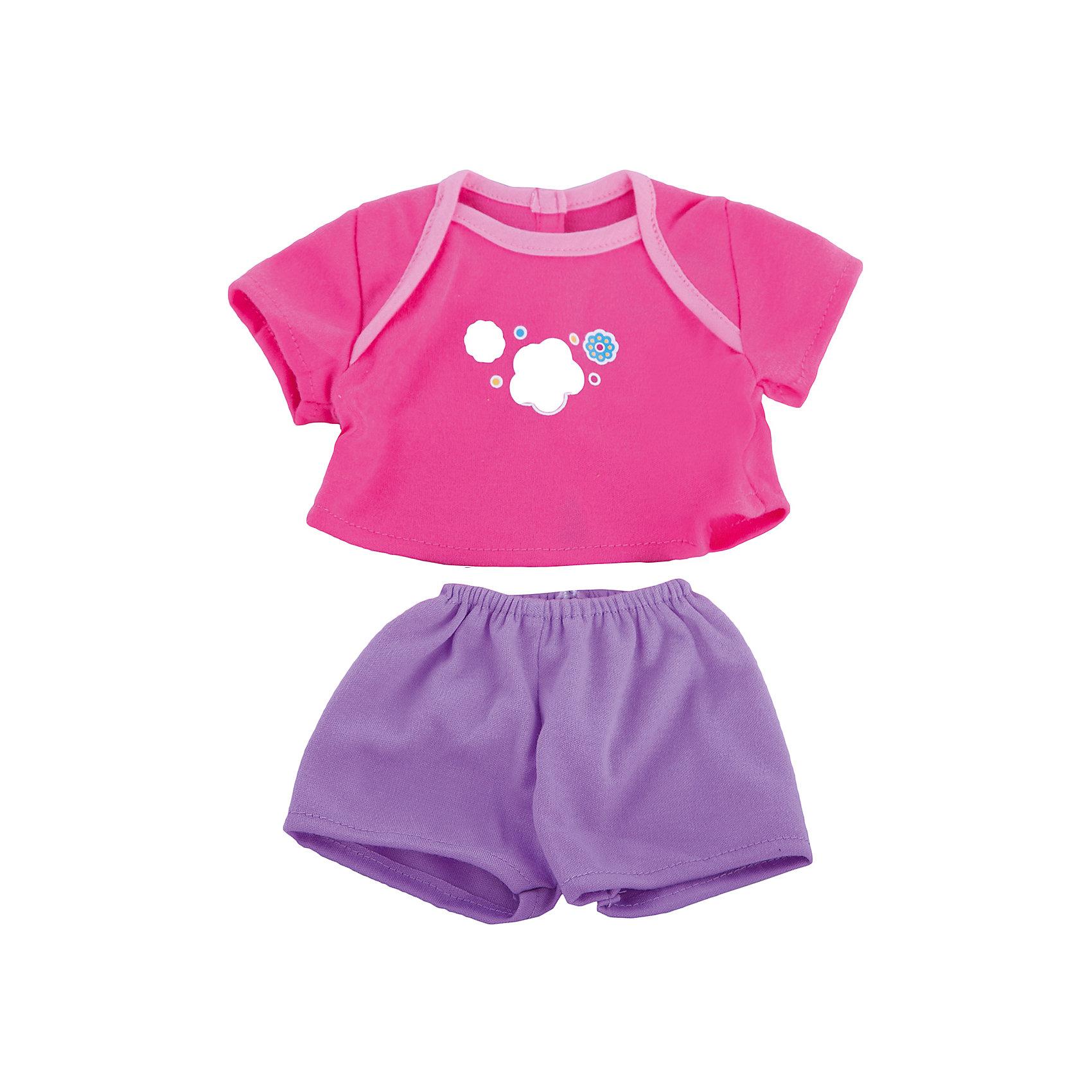 Одежда для куклы 42 см, футболочка и штанишки, Mary PoppinsКукольная одежда и аксессуары<br>Одежда для куклы 42 см, футболочка и штанишки, Mary Poppins.<br><br>Характеристики:<br><br>• Комплектация: футболка, штанишки, вешалка<br>• Высота куклы: 38-42 см.<br>• Материал: текстиль<br>• Цвет: розовый, сиреневый<br>• Упаковка: пакет<br>• Уход: стирка в стиральной машине при температуре 30 ?С<br><br>Куклы тоже любят менять наряды! И для них создается стильная и модная одежда, похожая на одежду для настоящих малышей. Этот летний костюмчик из эксклюзивной коллекции Цветочки ТМ Mary Poppins пополнит гардероб куклы высотой 38-42 см. Розовая футболка, украшенная ярким принтом, и сиреневые шортики отлично подойдут для летних прогулок с любимой куклой. Наряд для куклы изготовлен из приятной на ощупь ткани, его легко снимать и одевать.<br><br>Одежду для куклы 42 см, футболочка и штанишки, Mary Poppins можно купить в нашем интернет-магазине.<br><br>Ширина мм: 220<br>Глубина мм: 330<br>Высота мм: 10<br>Вес г: 81<br>Возраст от месяцев: 24<br>Возраст до месяцев: 2147483647<br>Пол: Женский<br>Возраст: Детский<br>SKU: 5402774