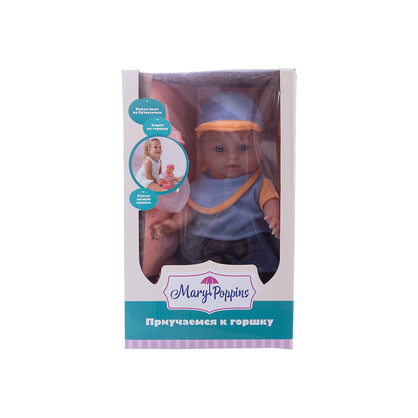 Пупс Пью и писаю, Mary PoppinsПупс Пью и писаю, Mary Poppins.<br><br>Характеристики:<br><br>• Комплектация: кукла, горшок, бутылочка, ложка, вилка, тарелка<br>• Высота куклы: 30 см.<br>• Материал: ПВХ, пластмасса, текстиль<br>• Упаковка: картонная коробка открытого типа<br><br>Пупс мальчик торговой марки Mary Poppins с функцией Пью и писаю отлично подойдет для сюжетно-ролевых игр в «дочки-матери». В комплекте с куклой поставляется горшок и бутылочка. Можно напоить пупса из бутылочки водой и посадить на горшок. Пупс одет в симпатичный наряд, состоящий из штанишек, кофточки и кепки, который можно легко снять при необходимости. Кукла имеет реалистичный внешний вид. Куклу можно купать в ванной (тельце у куклы твердое), кормить и укладывать спать. Ручки и ножки пупса подвижны, глазки не закрываются. Пупс поможет Вам приучить вашего малыша к горшку.<br><br>Пупса Пью и писаю, Mary Poppins можно купить в нашем интернет-магазине.<br><br>Ширина мм: 175<br>Глубина мм: 130<br>Высота мм: 290<br>Вес г: 528<br>Возраст от месяцев: 24<br>Возраст до месяцев: 2147483647<br>Пол: Женский<br>Возраст: Детский<br>SKU: 5402777