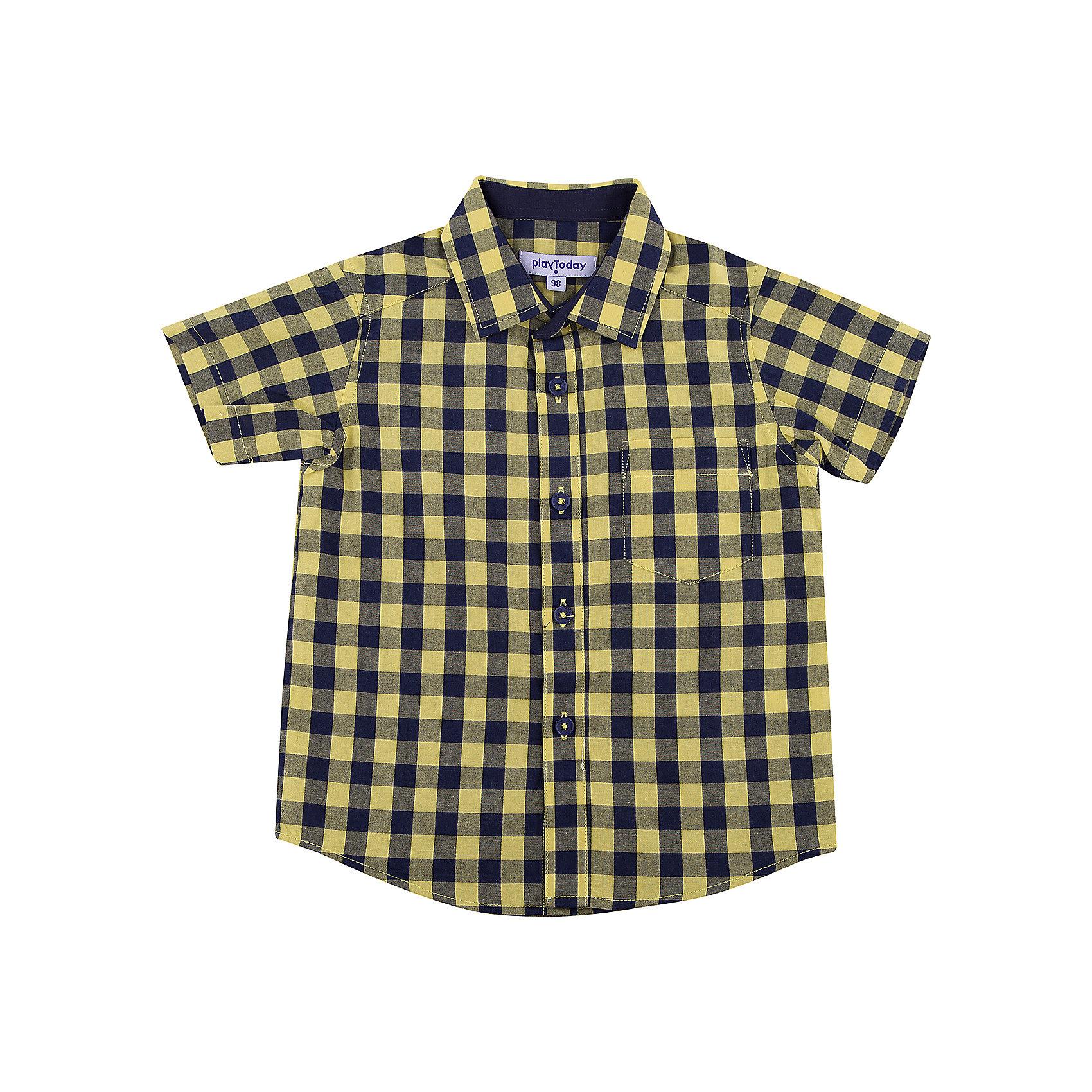 Рубашка для мальчика PlayTodayБлузки и рубашки<br>Рубашка для мальчика PlayToday<br>Эффектная сорочка с коротким рукавом для мальчика в стиле кантри.  Практична и очень удобна для повседневной носки. Ткань  мягкая и приятная на ощупь, не раздражает нежную детскую кожу. Стиль отвечает всем последним тенденциям детской моды.  Рубашка с отложным воротничком и накладным карманом. Даже в самой активной игре  Ваш ребенок будет всегда иметь аккуратный вид.Преимущества: Качественная тонкая ткань не раздражает нежную кожу ребенкаМодель с отложным воротником  и накладным карманом<br>Состав:<br>100% хлопок<br><br>Ширина мм: 174<br>Глубина мм: 10<br>Высота мм: 169<br>Вес г: 157<br>Цвет: разноцветный<br>Возраст от месяцев: 84<br>Возраст до месяцев: 96<br>Пол: Мужской<br>Возраст: Детский<br>Размер: 128,98,104,110,116,122<br>SKU: 5403200
