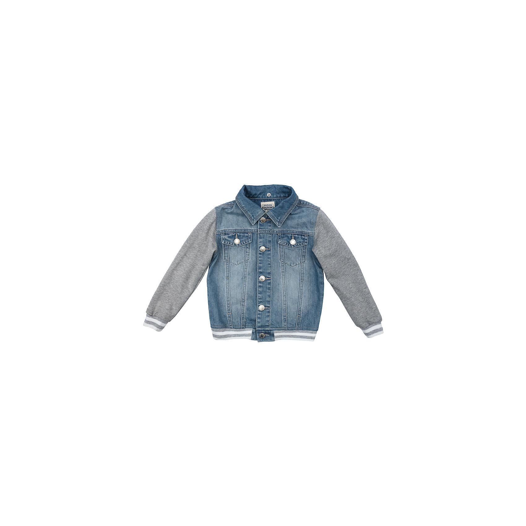Куртка джинсовая для мальчика PlayTodayДжинсовая одежда<br>Куртка джинсовая для мальчика PlayToday<br>Эта эффектная модная куртка обязательно понравится Вашему ребенку! Модель выполнена из 2-х видов ткани - натуральной джинсовой и трикотажа (капюшон и рукава). При необходимости капюшон можно отстегнуть - он крепится на застежках-кнопках. Мягкие резинки на манжетах и по низу изделия. Джинсовая ткань с эффектом потертости.Преимущества: Рукава и капюшон из мягкого трикотажаКапюшон на застежках-кнопках. Легко отстегиваетсяМягкие резинки на манжетах и по низу изделия<br>Состав:<br>80% хлопок, 20% полиэстер<br><br>Ширина мм: 356<br>Глубина мм: 10<br>Высота мм: 245<br>Вес г: 519<br>Цвет: разноцветный<br>Возраст от месяцев: 84<br>Возраст до месяцев: 96<br>Пол: Мужской<br>Возраст: Детский<br>Размер: 128,98,104,110,116,122<br>SKU: 5403375
