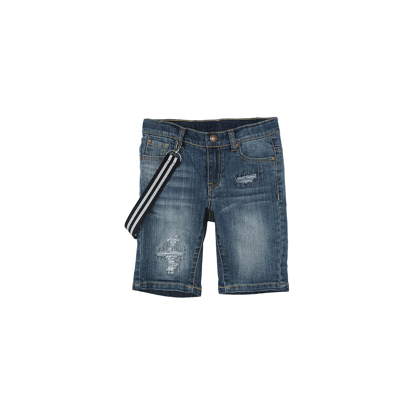 Шорты джинсовые для мальчика PlayTodayДжинсовая одежда<br>Шорты джинсовые для мальчика PlayToday<br>Удлиненные шорты из натуральной джинсовой ткани с прорезями и эффектом потертости идеально подойдут для отдыха и прогулок.Модель со шлевками, при необходимости можно использовать ремень. В качестве декора предлагается стильный пояс на карабинахПреимущества: Свободный классический крой не сковывает движения ребенкаМодель со шлевками, при необходимости можно использовать ременьДекорированы стильным поясом на карабинах<br>Состав:<br>99% хлопок, 1% эластан<br><br>Ширина мм: 191<br>Глубина мм: 10<br>Высота мм: 175<br>Вес г: 273<br>Цвет: синий<br>Возраст от месяцев: 84<br>Возраст до месяцев: 96<br>Пол: Мужской<br>Возраст: Детский<br>Размер: 110,116,122,128,98,104<br>SKU: 5403389