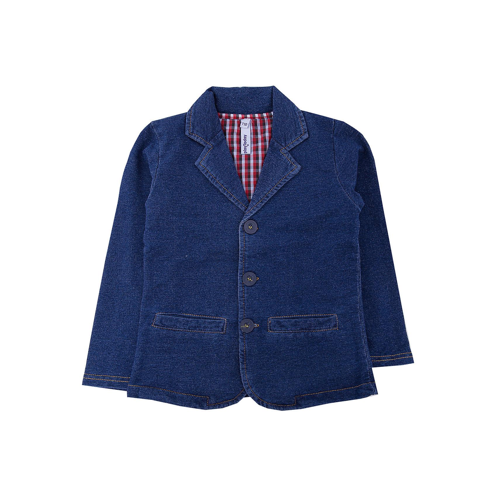 Пиджак для мальчика PlayTodayПиджак для мальчика PlayToday<br>Оригинальный однобортный пиджак из натуральной ткани, в модном стиле хипстер. Модель с яркой клетчатой подкладкой. Можно сочетать с рубашкой или футболкой.Преимущества: Однобортный пиджак из натуральной тканиМодель на яркой подкладкеМожно сочетать с рубашкой или футболкой<br>Состав:<br>70% хлопок, 30% полиэстер<br><br>Ширина мм: 157<br>Глубина мм: 13<br>Высота мм: 119<br>Вес г: 200<br>Цвет: синий<br>Возраст от месяцев: 84<br>Возраст до месяцев: 96<br>Пол: Мужской<br>Возраст: Детский<br>Размер: 128,98,104,110,116,122<br>SKU: 5403424