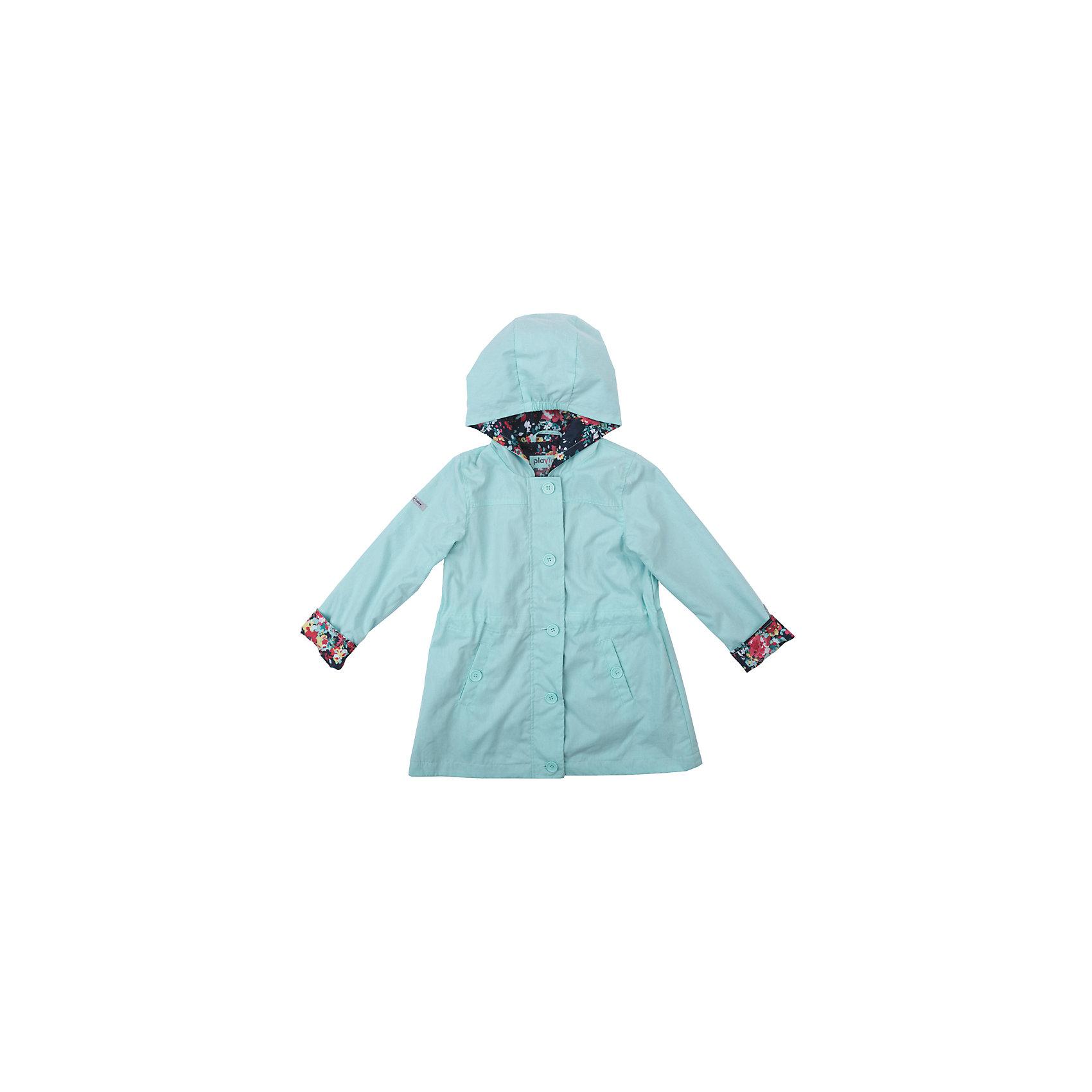 Плащ для девочки PlayTodayВерхняя одежда<br>Характеристики товара:<br><br>• цвет: голубой<br>• состав: 75% хлопок, 25% нейлон, подкладка - 100% полиэстер<br>• без утеплителя<br>• температурный режим: от +10°С до +20°С<br>• карманы<br>• подкладка с принтом<br>• пуговицы<br>• светоотражающие элементы<br>• капюшон<br>• коллекция: весна-лето 2017<br>• страна бренда: Германия<br>• страна производства: Китай<br><br>Популярный бренд PlayToday выпустил новую коллекцию! Вещи из неё продолжают радовать покупателей удобством, стильным дизайном и продуманным кроем. Дети носят их с удовольствием. PlayToday - это линейка товаров, созданная специально для детей. Дизайнеры учитывают новые веяния моды и потребности детей. Порадуйте ребенка обновкой от проверенного производителя!<br>Такой демисезонный плащ обеспечит ребенку комфорт благодаря качественному материалу и продуманному крою. С помощью этой модели можно удобно одеться по погоде. Очень модная модель! Отлично подходит для переменной погоды межсезонья.<br><br>Плащ для девочки от известного бренда PlayToday можно купить в нашем интернет-магазине.<br><br>Ширина мм: 157<br>Глубина мм: 13<br>Высота мм: 119<br>Вес г: 200<br>Цвет: голубой<br>Возраст от месяцев: 24<br>Возраст до месяцев: 36<br>Пол: Женский<br>Возраст: Детский<br>Размер: 98,128,104,110,116,122<br>SKU: 5403620