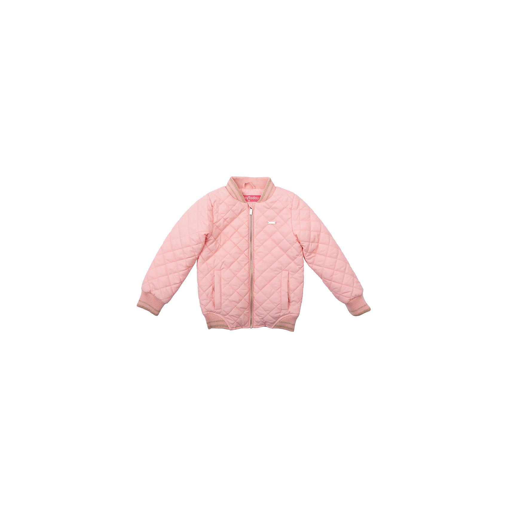 Куртка для девочки PlayTodayВерхняя одежда<br>Куртка для девочки PlayToday<br>Утепленная стеганая куртка - прекрасное решение для прохладной погоды. Мягкие трикотажные резинки на рукавах защитят Вашего ребенка - ветер не сможет проникнуть под куртку.  Специальный карман для фиксации застежки-молнии не позволит застежке травмировать нежную детскую кожу.  <br><br>Преимущества: <br><br>Мягкие трикотажные резинки на рукавах<br>Защита подбородка. Специальный карман для фиксации застежки-молнии. Наличие данного кармана не позволит застежке -молнии травмировать нежную кожу ребенка<br><br>Состав:<br>Верх: 100% полиэстер, подкладка: 60% полиэстер, 40% хлопок, наполнитель: 100% полиэстер, 80 г/м2<br><br>Ширина мм: 356<br>Глубина мм: 10<br>Высота мм: 245<br>Вес г: 519<br>Цвет: розовый<br>Возраст от месяцев: 84<br>Возраст до месяцев: 96<br>Пол: Женский<br>Возраст: Детский<br>Размер: 128,98,104,110,116,122<br>SKU: 5403627