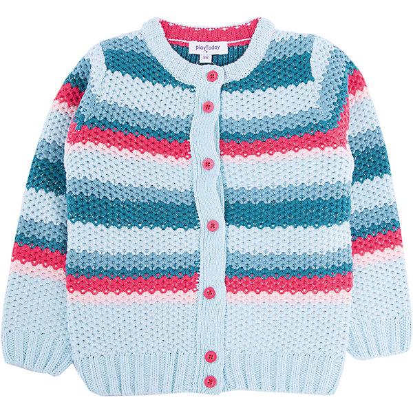 Кардиган для девочки PlayTodayСвитера и кардиганы<br>Характеристики товара:<br><br>• цвет: разноцветный<br>• состав: 70% акрил, 25% вискоза, 5% полиэстер<br>• изготовлен методом yarn dyed, долго выглядит как новый<br>• декорирован вязаным узором<br>• пуговицы<br>• эластичные манжеты<br>• резинка по низу<br>• комфортная посадка<br>• коллекция: весна-лето 2017<br>• страна бренда: Германия<br>• страна производства: Китай<br><br>Популярный бренд PlayToday выпустил новую коллекцию! Вещи из неё продолжают радовать покупателей удобством, стильным дизайном и продуманным кроем. Дети носят их с удовольствием. PlayToday - это линейка товаров, созданная специально для детей. Дизайнеры учитывают новые веяния моды и потребности детей. Порадуйте ребенка обновкой от проверенного производителя!<br>Такая стильная модель обеспечит ребенку комфорт благодаря качественному материалу и продуманному крою. С помощью неё можно удобно одеться по погоде. Очень модная вещь! Отлично подходит для переменной погоды межсезонья.<br><br>Кардиган для девочки от известного бренда PlayToday можно купить в нашем интернет-магазине.<br><br>Ширина мм: 190<br>Глубина мм: 74<br>Высота мм: 229<br>Вес г: 236<br>Цвет: белый<br>Возраст от месяцев: 24<br>Возраст до месяцев: 36<br>Пол: Женский<br>Возраст: Детский<br>Размер: 98,128,122,116,110,104<br>SKU: 5403634