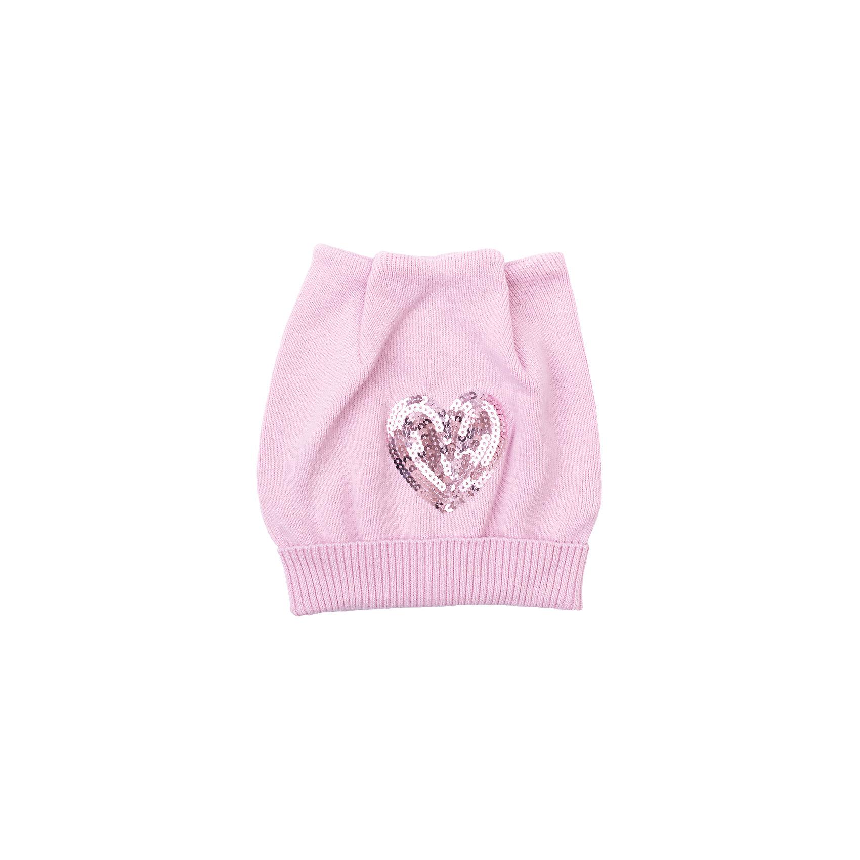 Шапка для девочки PlayTodayШик и блеск<br>Шапка для девочки PlayToday<br>Шапка из трикотажа с ушками подойдет Вашему ребенку для прогулок в прохладную погоду. Шапка без завязок, плотно прилегает к голове, комфортна при носке. Модель декорирована эффектной вышивкой из пайеток <br><br>Преимущества: <br><br>Мягкий трикотаж<br>Плотно прилегает к голове<br>Комфортна при носке<br><br>Состав:<br>80% хлопок, 18% нейлон, 2% эластан<br><br>Ширина мм: 89<br>Глубина мм: 117<br>Высота мм: 44<br>Вес г: 155<br>Цвет: светло-розовый<br>Возраст от месяцев: 48<br>Возраст до месяцев: 60<br>Пол: Женский<br>Возраст: Детский<br>Размер: 52,54,50<br>SKU: 5404214