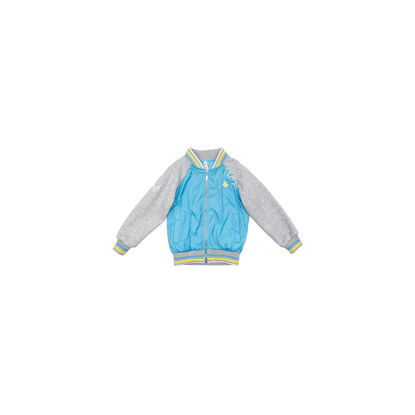 Куртка для девочки PlayTodayВетровки и жакеты<br>Куртка для девочки PlayToday<br>Яркая куртка на подкладке с рукавами из трикотажа подойдет для прохладной погоды. Мягкие резинки у горловины, манжетах и по низу изделия удерживают тепло. Аппликации в виде бабочек являются достойным украшением данного изделия. Светоотражатель на рукаве и по низу изделия позволит видеть Вашего ребенка в темное время суток.  <br><br>Преимущества: <br><br>Рукава из мягкого трикотажа<br>мягкие резинки у горловины, манжетах и по низу изделия<br>Светоотражатель на рукаве и по низу изделия<br><br><br>Состав:<br>Верх: 100% полиэстер, подкладка: 60% хлопок, 40% полиэстер<br><br>Ширина мм: 356<br>Глубина мм: 10<br>Высота мм: 245<br>Вес г: 519<br>Цвет: разноцветный<br>Возраст от месяцев: 24<br>Возраст до месяцев: 36<br>Пол: Женский<br>Возраст: Детский<br>Размер: 110,104,98,128,122,116<br>SKU: 5404237