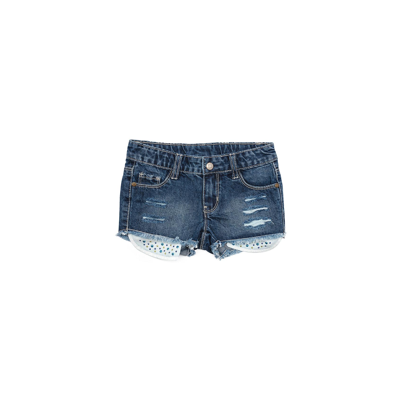 Шорты для девочки PlayTodayШорты для девочки PlayToday<br>Модные, с прорезями, эффектные джинсовые шорты будут прекрасным дополнением к детскому гардеробу. Выполнены из натурального хлопка, с выпускными карманами, декорированными яркими стразами. Модель на шлевках, можно использовать ремень для удобства посадки шорт по фигуре <br><br>Преимущества: <br><br>Мягкая ткань не сковывает движений ребенка<br>Материал приятен к телу и не вызывает раздражений<br>Декорированы яркими стразами<br><br>Состав:<br>100% хлопок<br><br>Ширина мм: 191<br>Глубина мм: 10<br>Высота мм: 175<br>Вес г: 273<br>Цвет: синий<br>Возраст от месяцев: 84<br>Возраст до месяцев: 96<br>Пол: Женский<br>Возраст: Детский<br>Размер: 128,98,104,110,116,122<br>SKU: 5404258