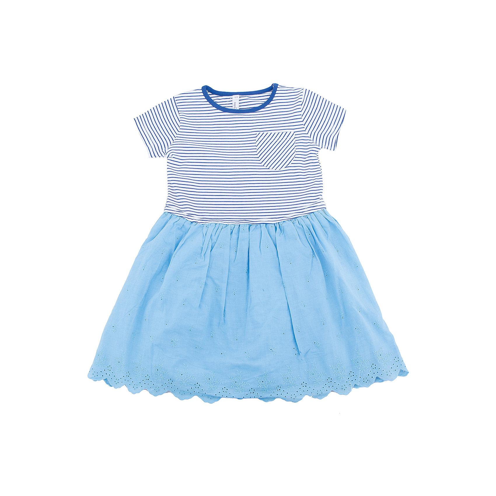 Платье для девочки PlayTodayПлатье для девочки PlayToday<br>Платье отрезное по талии, с округлым вырезом у горловины, понравится Вашей моднице.  Свободный крой не сковывает движений. Приятная на ощупь ткань не раздражает нежную кожу ребенка. Модель декорирована небольшим карманом на полочке.<br> <br><br>Преимущества: <br><br>Мягкая ткань не вызывает раздражений<br>Свободный крой не сковывает движений ребенка<br><br>Состав:<br>95% хлопок, 5% эластан / 100% хлопок<br><br>Ширина мм: 236<br>Глубина мм: 16<br>Высота мм: 184<br>Вес г: 177<br>Цвет: голубой<br>Возраст от месяцев: 84<br>Возраст до месяцев: 96<br>Пол: Женский<br>Возраст: Детский<br>Размер: 128,98,104,110,116,122<br>SKU: 5404279