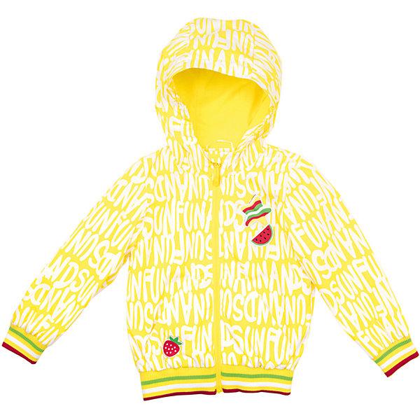 Куртка для девочки PlayTodayВерхняя одежда<br>Характеристики товара:<br><br>• цвет:  светло-желтый<br>• состав: 100% полиэстер, подкладка: 60% хлопок, 40% полиэстер<br>• без утеплителя<br>• температурный режим: от +10°С до +20°С<br>• карманы<br>• молния<br>• эластичные манжеты<br>• принт<br>• капюшон<br>• коллекция: весна-лето 2017<br>• страна бренда: Германия<br>• страна производства: Китай<br><br>Популярный бренд PlayToday выпустил новую коллекцию! Вещи из неё продолжают радовать покупателей удобством, стильным дизайном и продуманным кроем. Дети носят их с удовольствием. PlayToday - это линейка товаров, созданная специально для детей. Дизайнеры учитывают новые веяния моды и потребности детей. Порадуйте ребенка обновкой от проверенного производителя!<br>Такая демисезонная куртка обеспечит ребенку комфорт благодаря качественному материалу и продуманному крою. С помощью этой модели можно удобно одеться по погоде. Очень модная модель! Отлично подходит для переменной погоды межсезонья.<br><br>Куртку для девочки от известного бренда PlayToday можно купить в нашем интернет-магазине.<br><br>Ширина мм: 356<br>Глубина мм: 10<br>Высота мм: 245<br>Вес г: 519<br>Цвет: светло-желтый<br>Возраст от месяцев: 72<br>Возраст до месяцев: 84<br>Пол: Женский<br>Возраст: Детский<br>Размер: 110,104,98,116,128,122<br>SKU: 5404382