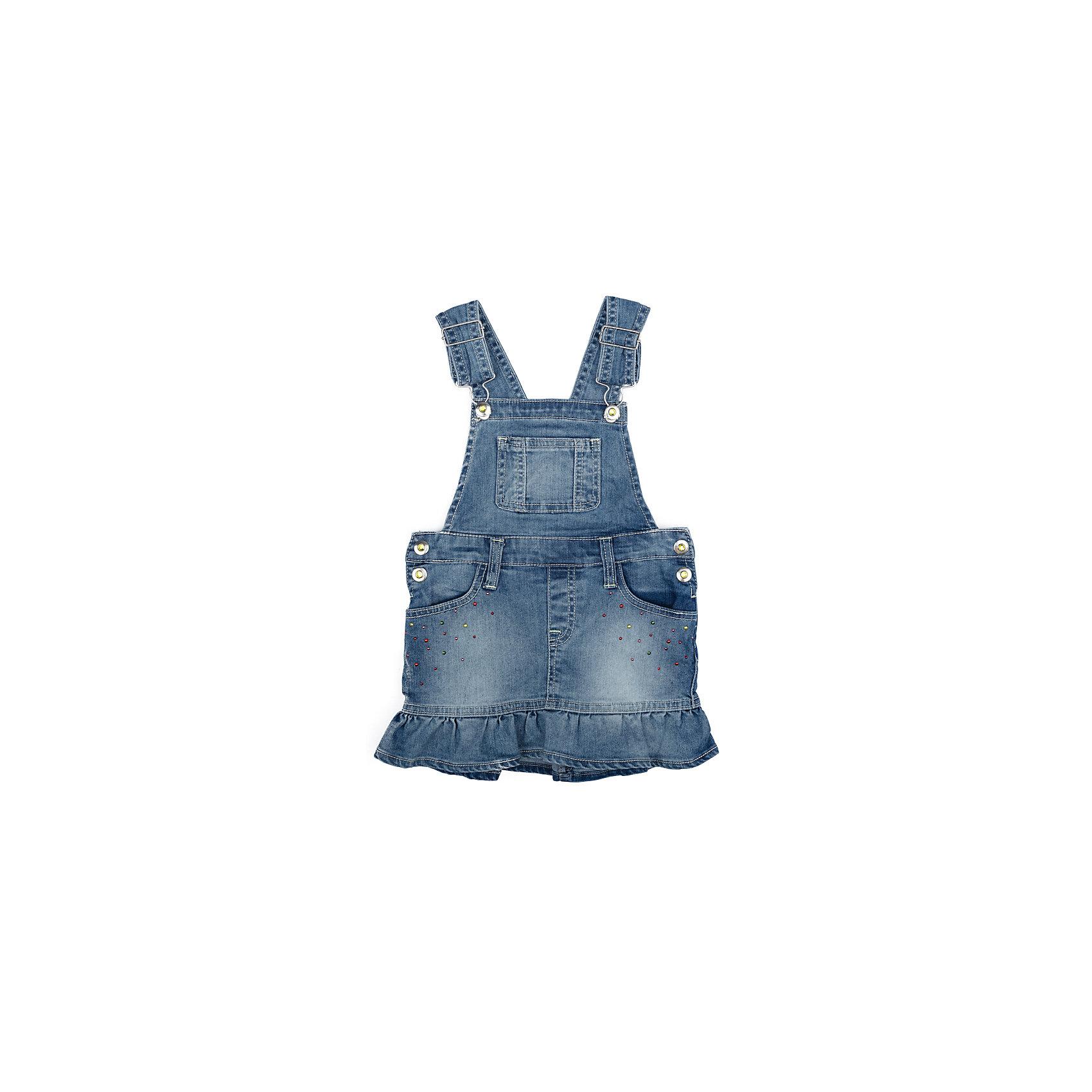 Сарафан джинсовый для девочки PlayTodayДжинсовая одежда<br>Сарафан джинсовый для девочки PlayToday<br>Эффектный сарафан из натуральной джинсовой ткани с эффектом потертости сможет быть одной из базовоых вещей с детском гардеробе. Модель на широких бретелях, с удобными застежками - болтами. Сарафан декорирован яркими истразами и мягкой складкой, дающей эффект юбочки.<br>Состав:<br>78% хлопок, 20% полиэстер, 2% эластан<br><br>Ширина мм: 236<br>Глубина мм: 16<br>Высота мм: 184<br>Вес г: 177<br>Цвет: голубой<br>Возраст от месяцев: 84<br>Возраст до месяцев: 96<br>Пол: Женский<br>Возраст: Детский<br>Размер: 128,98,104,110,116,122<br>SKU: 5404403