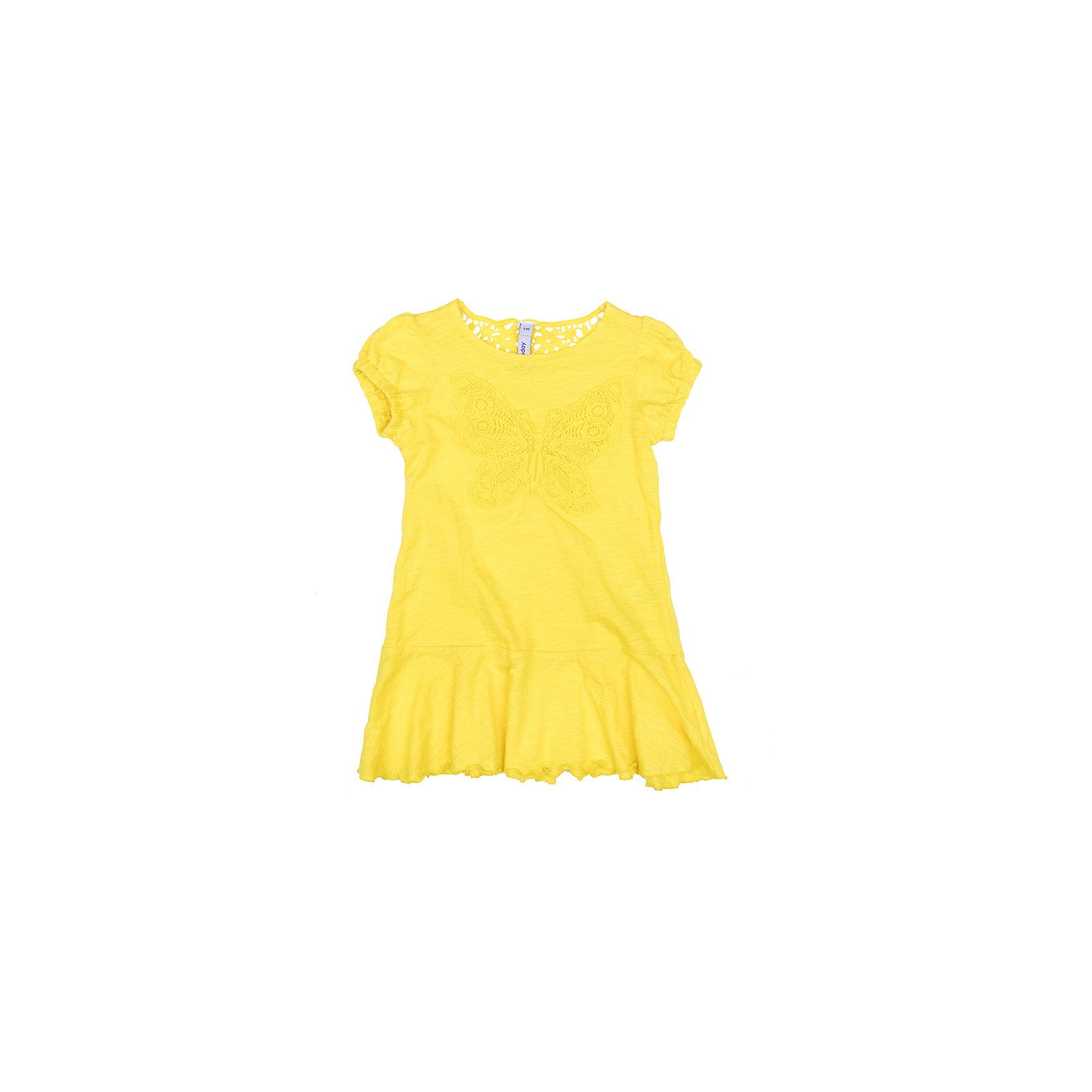 Платье для девочки PlayTodayПлатья и сарафаны<br>Платье для девочки PlayToday<br>Эффектное платье насыщенного цвета из натурального хлопка сможет быть прекрасным дополнением летнего детского гардероба. Модель с заниженной юбкой, на рукавах - фонариках мягкие резинки. Платье на спине декорированно эффектным шитьем, впереди - нежная аппликация.<br>Состав:<br>100% хлопок<br><br>Ширина мм: 236<br>Глубина мм: 16<br>Высота мм: 184<br>Вес г: 177<br>Цвет: желтый<br>Возраст от месяцев: 84<br>Возраст до месяцев: 96<br>Пол: Женский<br>Возраст: Детский<br>Размер: 128,98,104,110,116,122<br>SKU: 5404508
