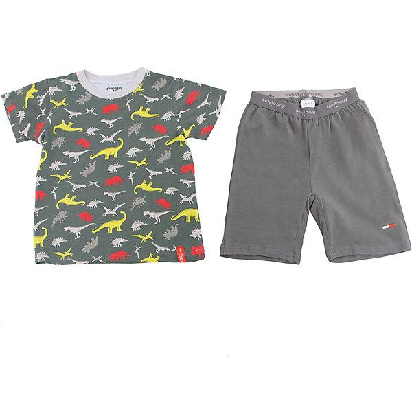 Комплект для мальчика PlayTodayКомплекты<br>Характеристики товара:<br><br>• цвет: серый<br>• состав: 95% хлопок, 5% эластан<br>• комплектация: футболка и шорты<br>• дышащий материал<br>• короткие рукава<br>• принт<br>• пояс - мягкая резинка<br>• комфортная посадка<br>• коллекция: весна-лето 2017<br>• страна бренда: Германия<br>• страна производства: Китай<br><br>Популярный бренд PlayToday выпустил новую коллекцию! Вещи из неё продолжают радовать покупателей удобством, стильным дизайном и продуманным кроем. Дети носят их с удовольствием. PlayToday - это линейка товаров, созданная специально для детей. Дизайнеры учитывают новые веяния моды и потребности детей. Порадуйте ребенка обновкой от проверенного производителя!<br>Эта модель обеспечит ребенку комфорт благодаря качественному материалу и удобному крою. Отличный вариант домашней одежды - она не трет и давит, не ограничивает свободу движений! Выглядит стильно и аккуратно.<br><br>Комплект для мальчика от известного бренда PlayToday можно купить в нашем интернет-магазине.<br><br>Ширина мм: 199<br>Глубина мм: 10<br>Высота мм: 161<br>Вес г: 151<br>Цвет: темно-серый<br>Возраст от месяцев: 24<br>Возраст до месяцев: 36<br>Пол: Мужской<br>Возраст: Детский<br>Размер: 98,128,122,116,110,104<br>SKU: 5404770