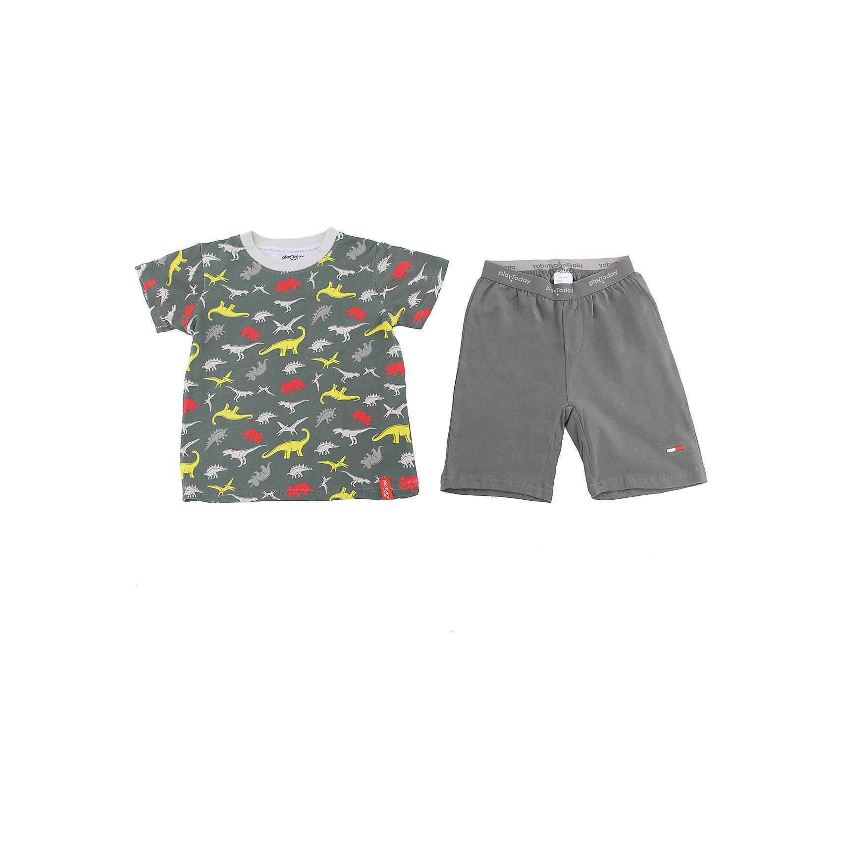 Комплект для мальчика PlayTodayКомплекты<br>Характеристики товара:<br><br>• цвет: серый<br>• состав: 95% хлопок, 5% эластан<br>• комплектация: футболка и шорты<br>• дышащий материал<br>• короткие рукава<br>• принт<br>• пояс - мягкая резинка<br>• комфортная посадка<br>• коллекция: весна-лето 2017<br>• страна бренда: Германия<br>• страна производства: Китай<br><br>Популярный бренд PlayToday выпустил новую коллекцию! Вещи из неё продолжают радовать покупателей удобством, стильным дизайном и продуманным кроем. Дети носят их с удовольствием. PlayToday - это линейка товаров, созданная специально для детей. Дизайнеры учитывают новые веяния моды и потребности детей. Порадуйте ребенка обновкой от проверенного производителя!<br>Эта модель обеспечит ребенку комфорт благодаря качественному материалу и удобному крою. Отличный вариант домашней одежды - она не трет и давит, не ограничивает свободу движений! Выглядит стильно и аккуратно.<br><br>Комплект для мальчика от известного бренда PlayToday можно купить в нашем интернет-магазине.<br><br>Ширина мм: 199<br>Глубина мм: 10<br>Высота мм: 161<br>Вес г: 151<br>Цвет: темно-серый<br>Возраст от месяцев: 84<br>Возраст до месяцев: 96<br>Пол: Мужской<br>Возраст: Детский<br>Размер: 128,98,104,110,116,122<br>SKU: 5404770