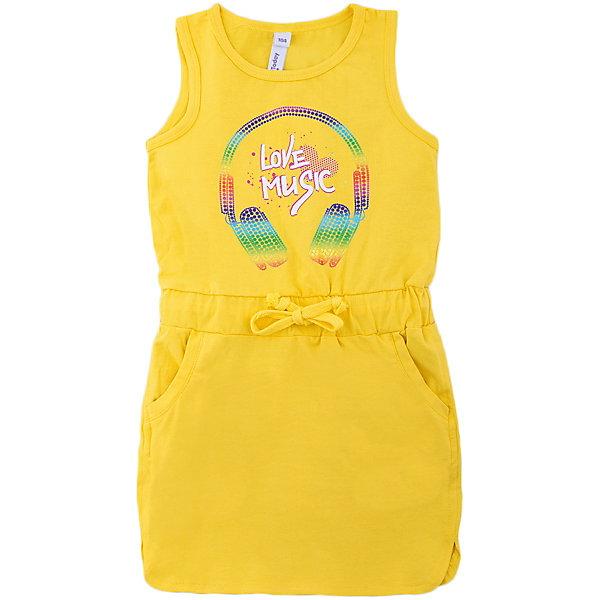 Платье для девочки PlayTodayПлатья и сарафаны<br>Характеристики товара:<br><br>• цвет: желтый<br>• состав: 95% хлопок, 5% эластан<br>• декорирована принтом<br>• эластичный трикотаж<br>• дышащий материал<br>• мягкая обработка краев<br>• комфортная посадка<br>• коллекция: весна-лето 2017<br>• страна бренда: Германия<br>• страна производства: Китай<br><br>Популярный бренд PlayToday выпустил новую коллекцию! Вещи из неё продолжают радовать покупателей удобством, стильным дизайном и продуманным кроем. Дети носят их с удовольствием. PlayToday - это линейка товаров, созданная специально для детей. Дизайнеры учитывают новые веяния моды и потребности детей. Порадуйте ребенка обновкой от проверенного производителя!<br>Такая стильная модель обеспечит ребенку комфорт благодаря качественному материалу и продуманному крою. С помощью неё можно удобно одеться по погоде. Очень модная вещь! Симпатично выглядит и долго служит.<br><br>Платье для девочки от известного бренда PlayToday можно купить в нашем интернет-магазине.<br><br>Ширина мм: 236<br>Глубина мм: 16<br>Высота мм: 184<br>Вес г: 177<br>Цвет: белый<br>Возраст от месяцев: 36<br>Возраст до месяцев: 48<br>Пол: Женский<br>Возраст: Детский<br>Размер: 104,140,134,128,122,116,110,98<br>SKU: 5404884