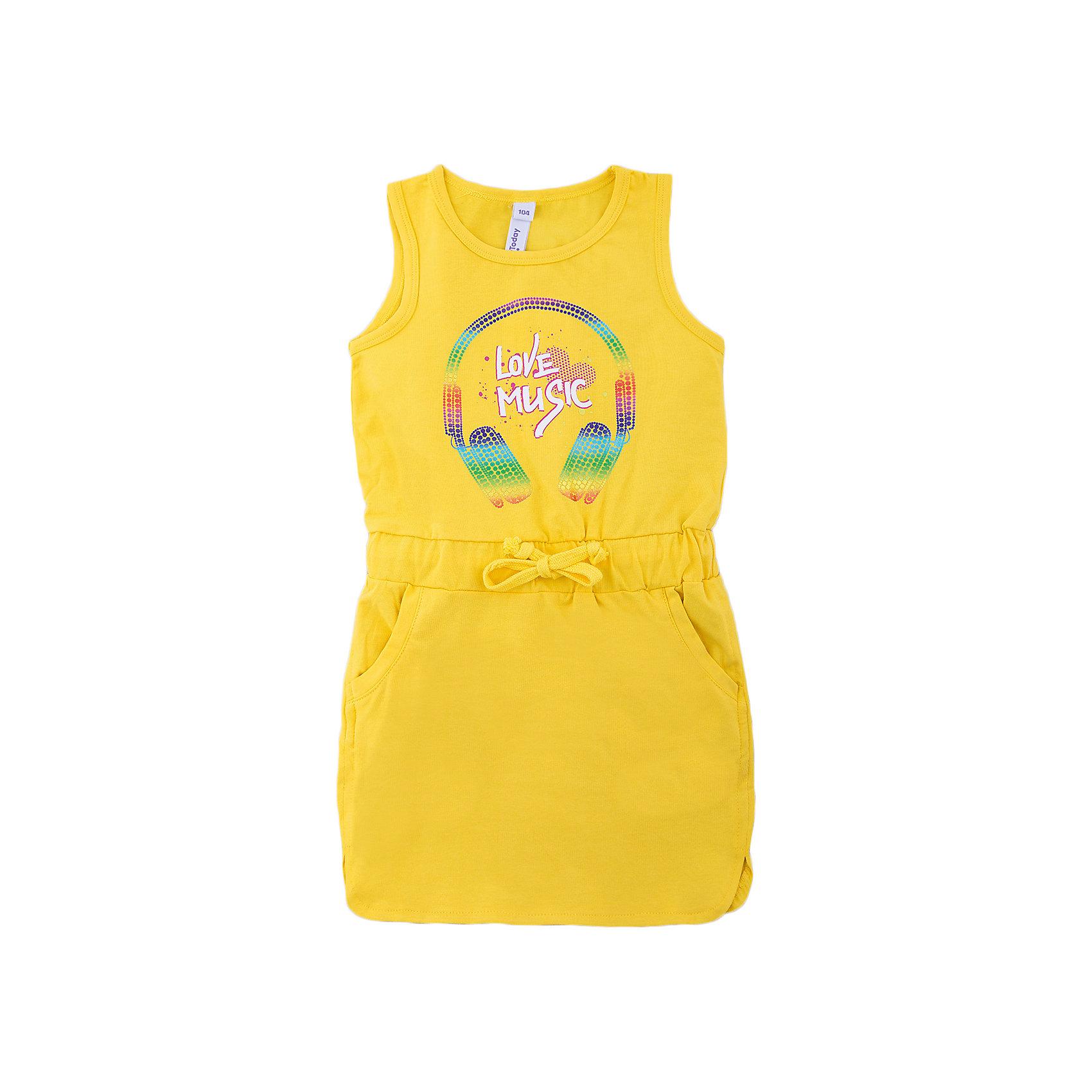 Платье для девочки PlayTodayПлатья и сарафаны<br>Платье для девочки PlayToday<br>Платье с округлым вырезом у горловины, понравится Вашей моднице.  Свободный крой не сковывает движений. Приятная на ощупь ткань не раздражает нежную кожу ребенка. Модель на талии с регулируемым шнуром - кулиской.Преимущества: Мягкая ткань не вызывает раздраженийСвободный крой не сковывает движений ребенкаМодель на талии с регулируемым шнуром - кулиской<br>Состав:<br>95% хлопок, 5% эластан<br><br>Ширина мм: 236<br>Глубина мм: 16<br>Высота мм: 184<br>Вес г: 177<br>Цвет: разноцветный<br>Возраст от месяцев: 72<br>Возраст до месяцев: 84<br>Пол: Женский<br>Возраст: Детский<br>Размер: 128,134,140,104,98,110,116,122<br>SKU: 5404884