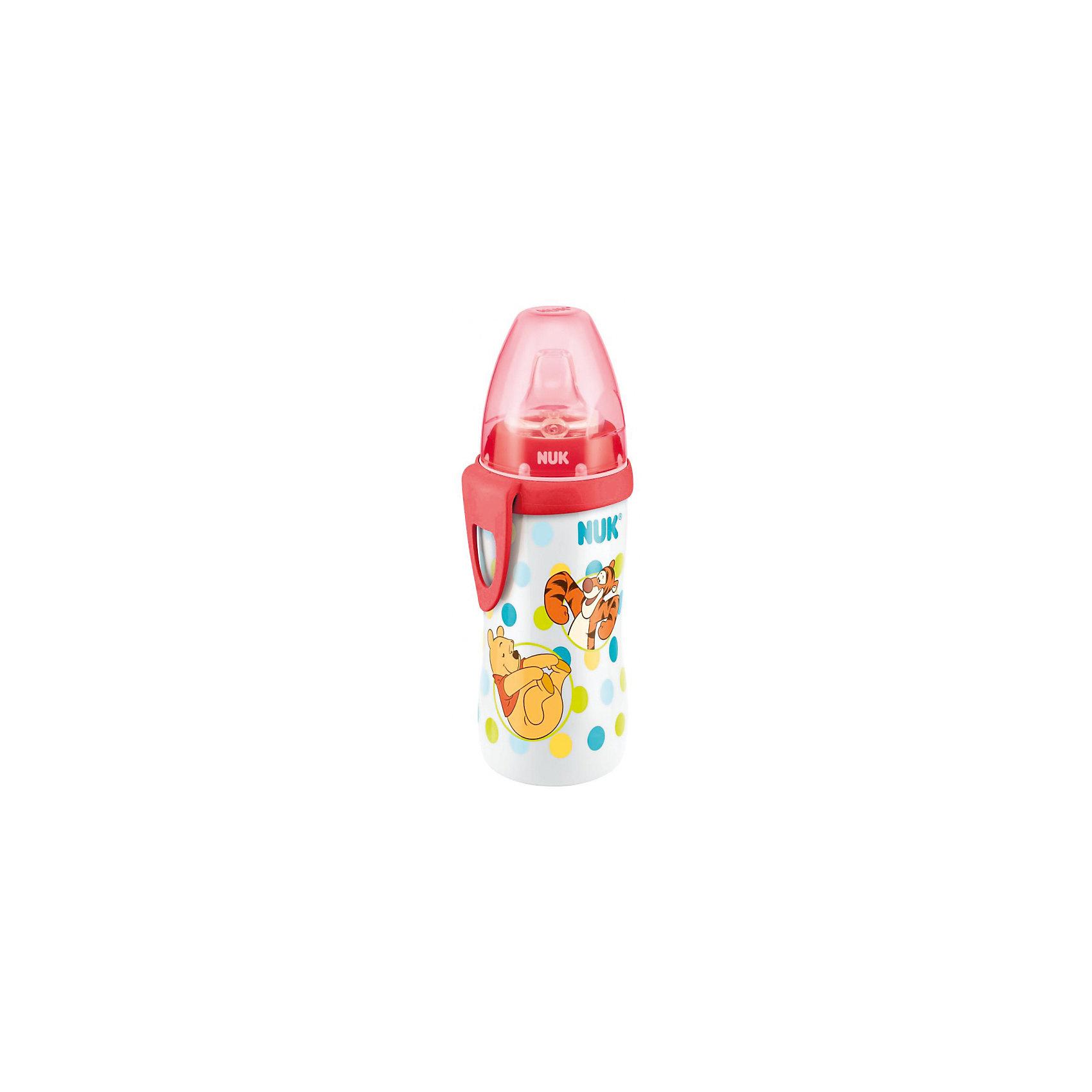 Поильник Дисней для активных детей 300 мл., Винни Пух, NUK, белый/красныйПоильник Дисней для активных детей 300 мл., Винни Пух, NUK, белый/красный<br><br>Характеристики:<br><br>• В набор входит: поильник, соска, крышка, клипса<br>• Состав: полипропиллен, силикон<br>• Особенности: соска не имеет запаха или вкуса, упругий прочный материал, не проливается<br>• Для детей в возрасте от 12 месяцев<br>• Страна производитель: Германия<br><br>Яркая бутылочка-поильник от немецкой компании, специализирующейся на производстве качественных товаров для детей и мам NUK (Нук) принесёт много радости малышке и её родителям. Соска удобно ложится в ротик, система выпуска воздуха не позволяет крохе заглатывать воздух, предотвращая появление коликов. Ортодонтическое строение соски поможет правильному развитию челюсти, прикуса малыша и одобрена стоматологами.<br><br> Бутылочка удобной формы комфортно помещается в ручки малыша, надежная закрывающаяся система предотвращает поильник от протекания влаги. Колпачок защищает соску от загрязнений и необходим при транспортировке бутылочки. Поильник сочетается со всеми аксессуарами и деталями продукции NUK (Нук) First Choice (Фёст чойс). <br><br>Объем жидкости в 300 мл оптимален для активных детей, которым постоянно нужно пополнять свой запас влаги. Яркие рисунки с Винни Пухом и Тигрой придут по вкусу маленькой моднице и поддержат её настроение в течение всего дня. Почувствуйте бережную заботу с пустышками NUK (Нук)!<br><br>Поильник Дисней для активных детей 300 мл., Винни Пух, NUK, белый/красный можно купить в нашем интернет-магазине.<br><br>Ширина мм: 90<br>Глубина мм: 9999<br>Высота мм: 235<br>Вес г: 33<br>Возраст от месяцев: 12<br>Возраст до месяцев: 36<br>Пол: Унисекс<br>Возраст: Детский<br>SKU: 5405128