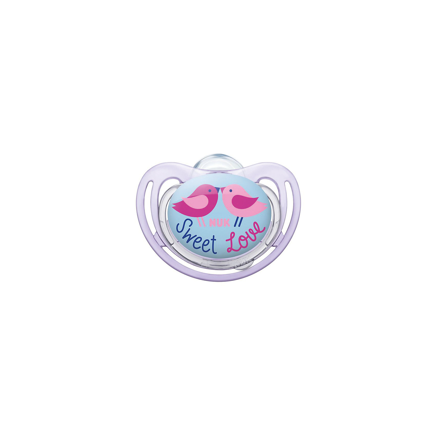 Ортодонтическая силиконовая соска-пустышка для сна FREESTYLE Птички, 6-18 мес, NUKСиликоновая ортодонтическая пустышка NUK FreeStyle.Продукция серии NUK Freestyle порадует каждого, так как все продукты не только привлекают внимание, но и досконально продуманы.Ортодонтическая форма пустышки полностью повторяет форму соска матери во время кормления и позволяет кормить ребенка естественным способом.Благодаря анатомической форме пустышка идеально подходит по форме к ротовой полости.Пустышка оснащена специальным клапаном NUK AIR SYSTEM, благодаря которому соска остается мягкой и не теряет форму даже тогда, когда из нее выходит воздух.Изготовлена из высококачественного силикона. Силикон - прочный гипоаллергенный материал, который не вступает в химическую реакцию со слюной, хорошо стерилизуется, не теряет форму и не впитывает запахи.<br><br>Ширина мм: 75<br>Глубина мм: 9999<br>Высота мм: 105<br>Вес г: 25<br>Возраст от месяцев: 6<br>Возраст до месяцев: 18<br>Пол: Женский<br>Возраст: Детский<br>SKU: 5405140