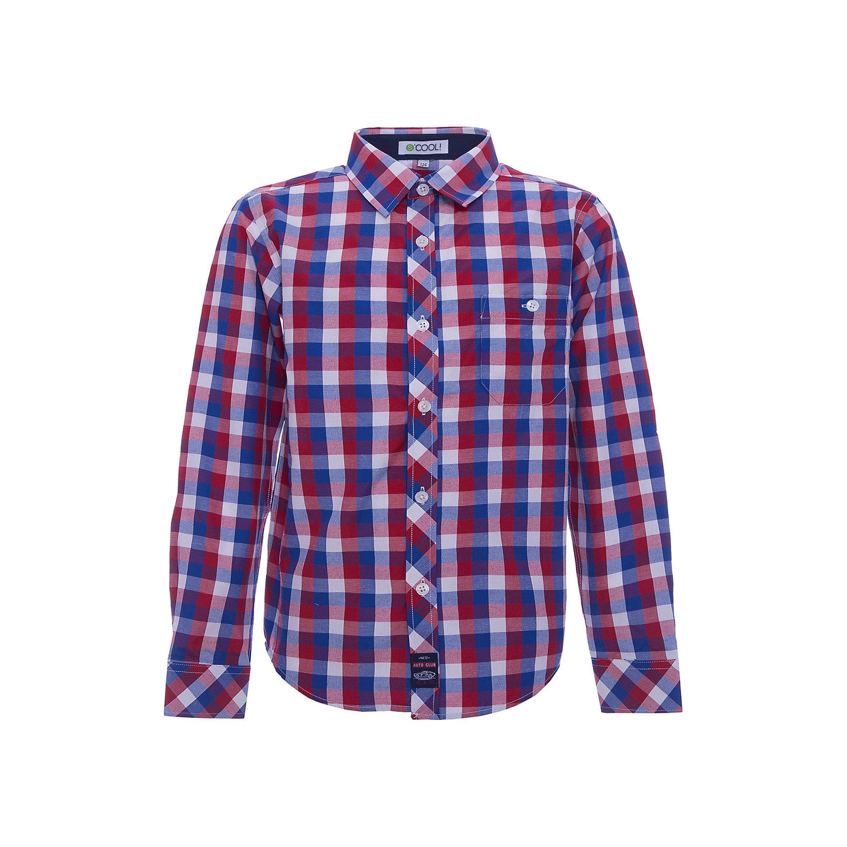 Рубашка для мальчика ScoolБлузки и рубашки<br>Характеристики товара:<br><br>• цвет: красный/синий<br>• состав: 80% хлопок, 20% полиэстер<br>• отложной воротник<br>• застежка: пуговицы<br>• качественный материал<br>• уплотненные манжеты<br>• нагрудный карман на пуговице<br>• страна бренда: Германия<br>• страна производства: Китай<br><br>Рубашка в клетку для мальчика Scool. Эффектная рубашка с длинным рукавом для мальчика в стиле кантри.  Практична и очень удобна для повседневной носки. Ткань  мягкая и приятная на ощупь, не раздражает нежную детскую кожу.<br><br>Сорочку для мальчика от известного бренда Scool можно купить в нашем интернет-магазине.<br><br>Ширина мм: 190<br>Глубина мм: 74<br>Высота мм: 229<br>Вес г: 236<br>Цвет: белый<br>Возраст от месяцев: 144<br>Возраст до месяцев: 156<br>Пол: Мужской<br>Возраст: Детский<br>Размер: 158,152,164,134,140,146<br>SKU: 5406557