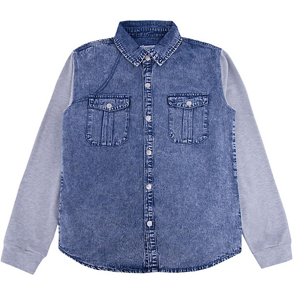 Рубашка джинсовая для мальчика ScoolДжинсовая одежда<br>Характеристики товара:<br><br>• цвет: синий/серый<br>• состав: 80% хлопок, 20% полиэстер<br>• рукава из мягкого трикотажа<br>• отложной воротник<br>• застежка: кнопки<br>• эластичные манжеты<br>• карманы на груди<br>• страна бренда: Германия<br>• страна производства: Китай<br><br>Рубашка с длинным рукавом для мальчика Scool. Эффектная джинсовая рубашка для мальчика будет актуальна в детском гардеробе. Практична и очень удобна для повседневной носки. Ткань  мягкая и приятная на ощупь, не раздражает нежную детскую кожу.<br><br>Сорочку для мальчика от известного бренда Scool можно купить в нашем интернет-магазине.<br>Ширина мм: 190; Глубина мм: 74; Высота мм: 229; Вес г: 236; Цвет: белый; Возраст от месяцев: 96; Возраст до месяцев: 108; Пол: Мужской; Возраст: Детский; Размер: 134,164,158,152,146,140; SKU: 5406578;