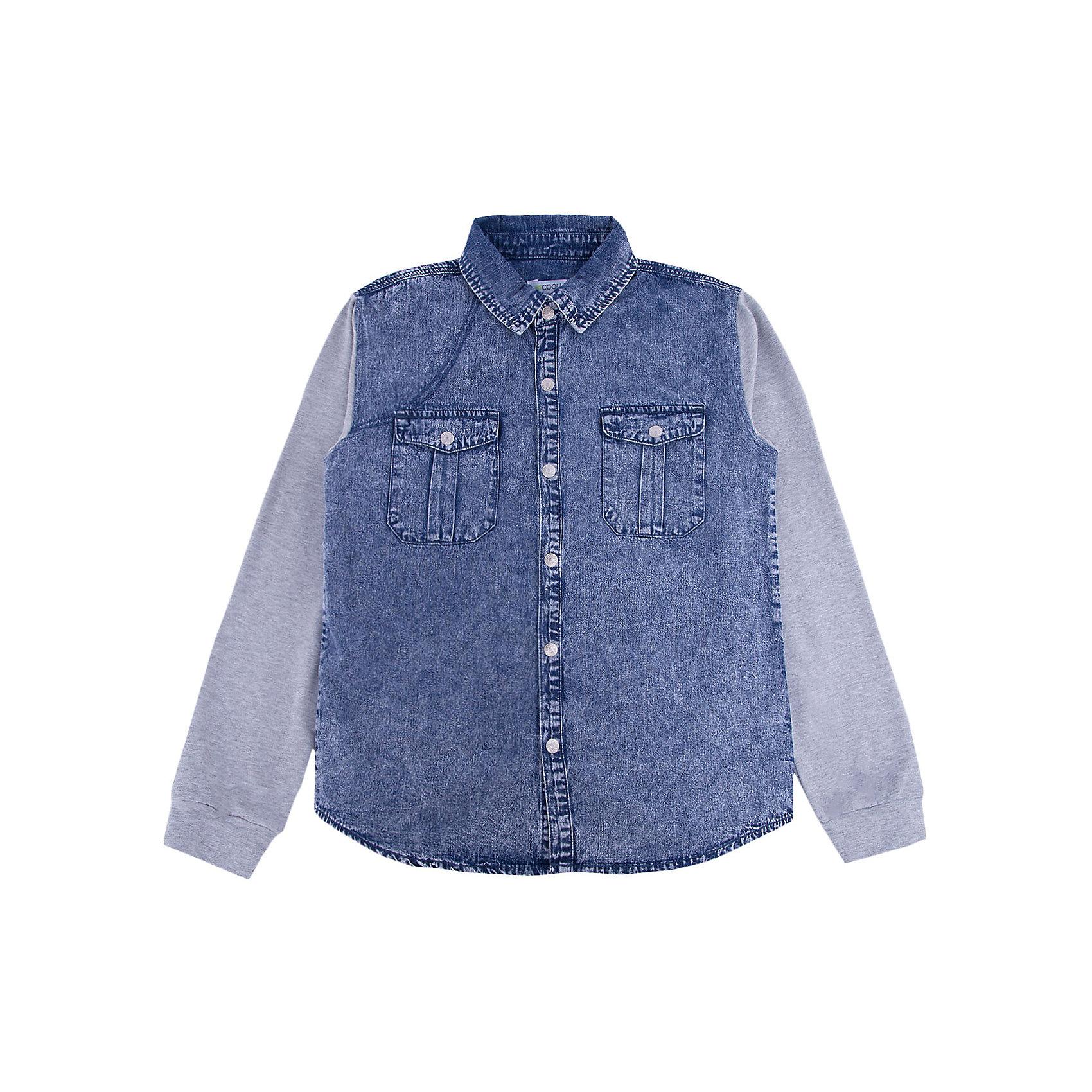 Рубашка джинсовая для мальчика ScoolДжинсовая одежда<br>Характеристики товара:<br><br>• цвет: синий/серый<br>• состав: 80% хлопок, 20% полиэстер<br>• рукава из мягкого трикотажа<br>• отложной воротник<br>• застежка: кнопки<br>• эластичные манжеты<br>• карманы на груди<br>• страна бренда: Германия<br>• страна производства: Китай<br><br>Рубашка с длинным рукавом для мальчика Scool. Эффектная джинсовая рубашка для мальчика будет актуальна в детском гардеробе. Практична и очень удобна для повседневной носки. Ткань  мягкая и приятная на ощупь, не раздражает нежную детскую кожу.<br><br>Сорочку для мальчика от известного бренда Scool можно купить в нашем интернет-магазине.<br><br>Ширина мм: 190<br>Глубина мм: 74<br>Высота мм: 229<br>Вес г: 236<br>Цвет: разноцветный<br>Возраст от месяцев: 156<br>Возраст до месяцев: 168<br>Пол: Мужской<br>Возраст: Детский<br>Размер: 164,134,140,146,152,158<br>SKU: 5406578