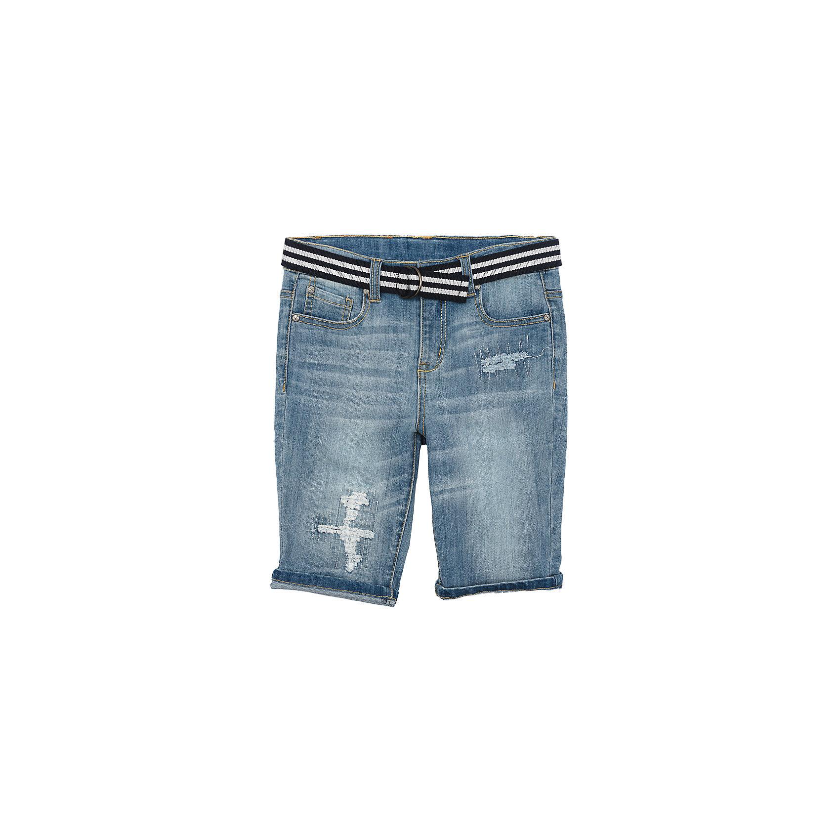 Шорты джинсовые для мальчика ScoolШорты, бриджи, капри<br>Характеристики товара:<br><br>• цвет: синий<br>• состав: 99% хлопок, 1% эластан<br>• сезон: лето<br>• ремень в комплекте<br>• шорты со шлёвками<br>• карманы <br>• эффект потертостей<br>• страна бренда: Германия<br>• страна производства: Китай<br><br>Джинсовые шорты для мальчика Scool. Шорты с потертостями подойдут для отдыха и прогулок. Свободный крой не сковывает движений ребенка. Натуральный материал приятен к телу и не вызывает раздражений. Модель со шлевками и ремнем.<br><br>Шорты для мальчика от известного бренда Scool можно купить в нашем интернет-магазине.<br><br>Ширина мм: 191<br>Глубина мм: 10<br>Высота мм: 175<br>Вес г: 273<br>Цвет: голубой<br>Возраст от месяцев: 96<br>Возраст до месяцев: 108<br>Пол: Мужской<br>Возраст: Детский<br>Размер: 134,146,152,158,164,140<br>SKU: 5406714