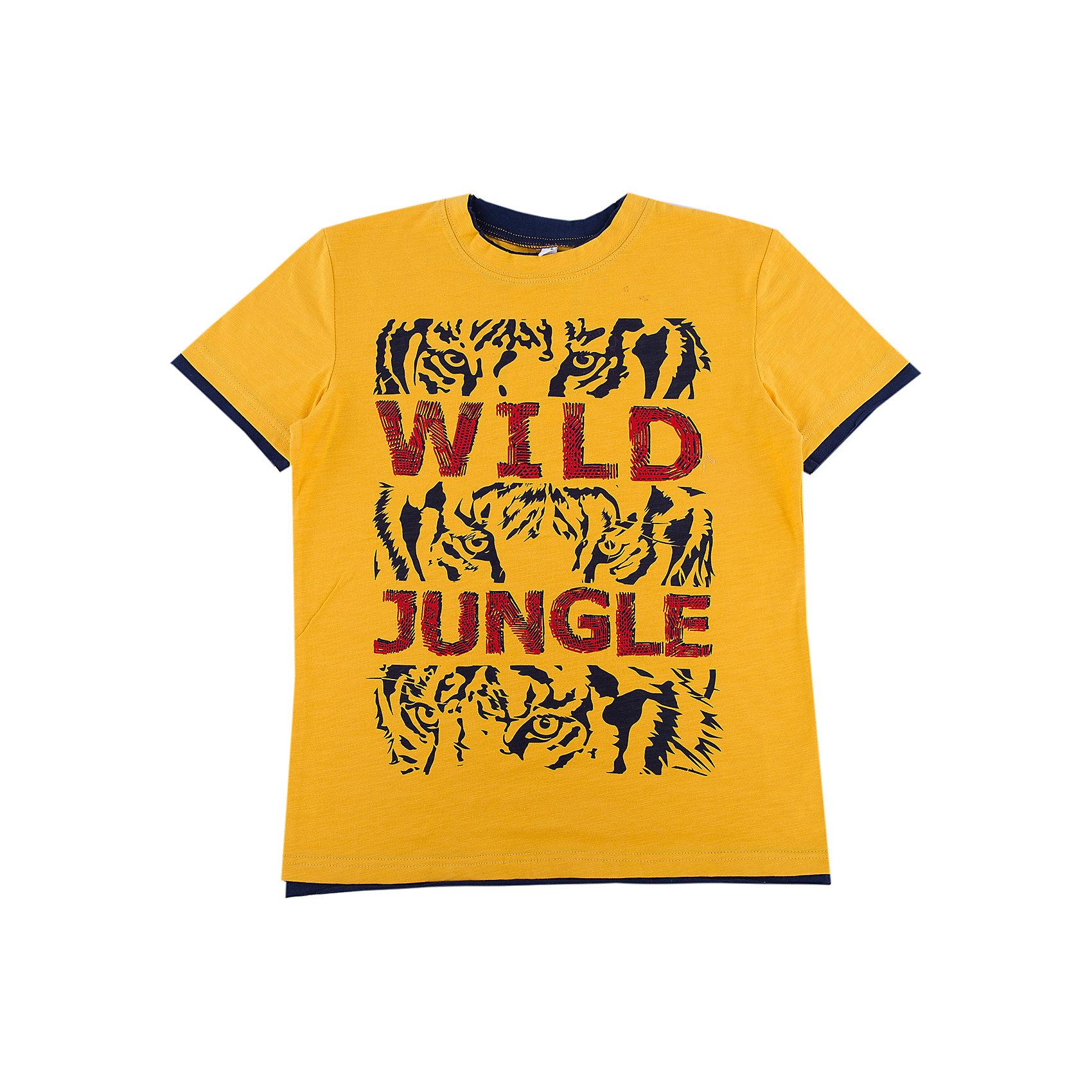 Футболка для мальчика ScoolФутболки, поло и топы<br>Характеристики товара:<br><br>• цвет: жёлтый<br>• состав: 95% хлопок, 5% эластан<br>• сезон: лето<br>• свободный классический крой<br>• страна бренда: Германия<br>• страна производства: Китай<br><br>Футболка с рисунком для мальчика Scool. Футболка с надписью, свободного классического кроя из натурального материала прекрасно подойдет как для домашнего использования, так и для прогулок на свежем воздухе. Можно использовать в качестве базовой вещи повседневного гардероба ребенка. Аккуратные швы не вызывают раздражений.<br><br>Футболку для мальчика от известного бренда Scool можно купить в нашем интернет-магазине.<br><br>Ширина мм: 199<br>Глубина мм: 10<br>Высота мм: 161<br>Вес г: 151<br>Цвет: белый<br>Возраст от месяцев: 156<br>Возраст до месяцев: 168<br>Пол: Мужской<br>Возраст: Детский<br>Размер: 164,134,140,146,152,158<br>SKU: 5406728