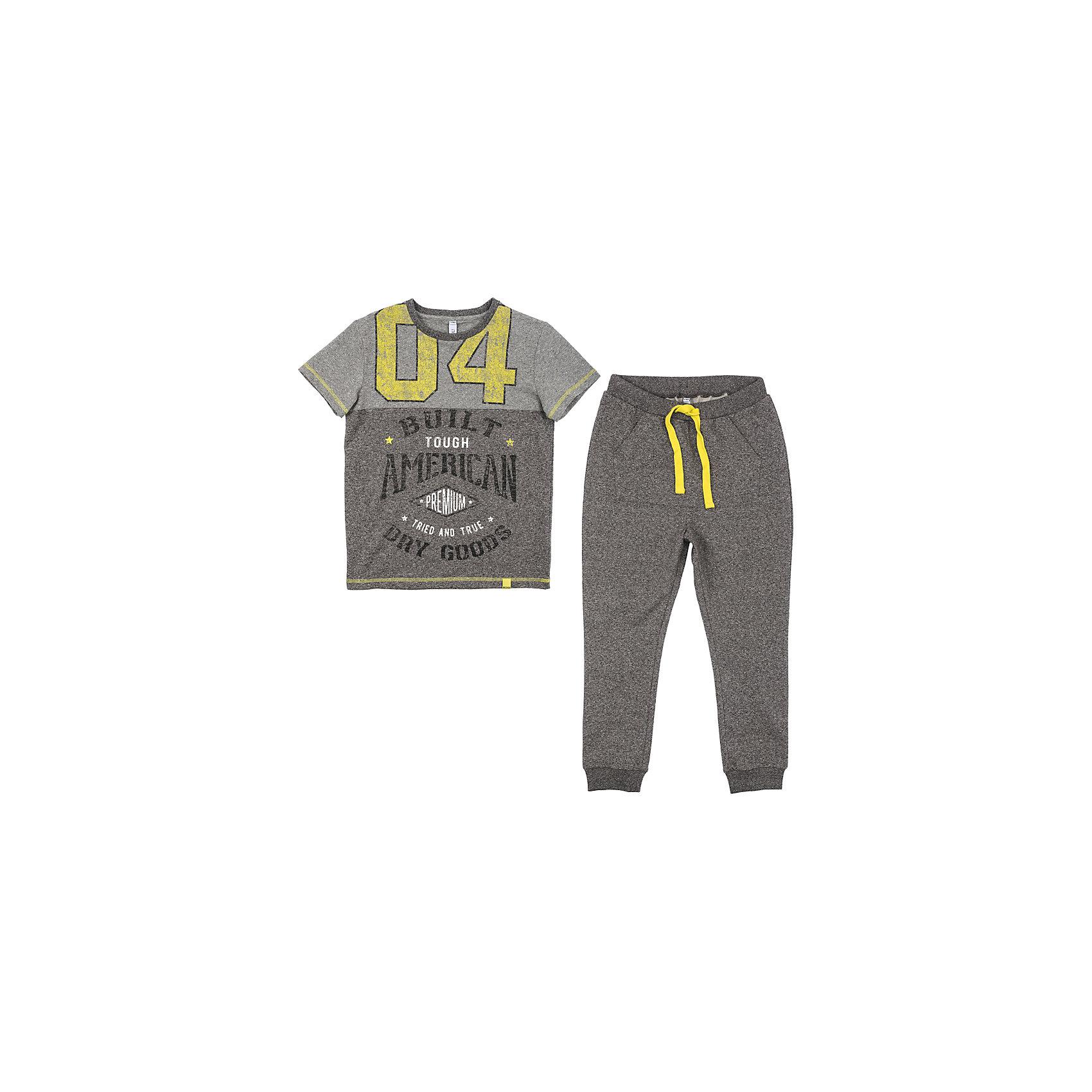 Комплект для мальчика ScoolКомплекты<br>Комплект для мальчика Scool<br>Комплект из футболки и брюк прекрасно подойдет для домашнего использования. Мягкий, приятный к телу, материал не сковывает движений. Яркий стильный принт является достойным украшением данного изделия. Брюки  на мягкой удобной резинке, со шнуром - кулиской на поясе.Преимущества: Свободный классический крой не сковывает движения ребенкаПодходит в качестве базовой вещи для повседневного гардероба<br>Состав:<br>95% хлопок, 5% эластан<br><br>Ширина мм: 215<br>Глубина мм: 88<br>Высота мм: 191<br>Вес г: 336<br>Цвет: разноцветный<br>Возраст от месяцев: 156<br>Возраст до месяцев: 168<br>Пол: Мужской<br>Возраст: Детский<br>Размер: 164,134,140,146,152,158<br>SKU: 5406795