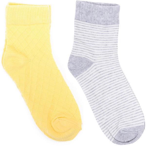 Носки, 2 пары для девочки ScoolНоски<br>Характеристики товара:<br><br>• цвет: серый/жёлтый<br>• состав: 75% хлопок, 22% нейлон, 3% эластан<br>• комплектация: 2 пары<br>• мягкая резинка<br>• плотно прилегают<br>• страна бренда: Германия<br>• страна производства: Китай<br><br>Носки однотонные, 2 пары для девочки Scool. Носки в полоску очень мягкие, из качественных материалов, приятны к телу и не сковывают движений. Хорошо пропускают воздух, тем самым позволяя коже дышать.<br><br>Носки, 2 пары, для девочки от известного бренда Scool можно купить в нашем интернет-магазине.<br>Ширина мм: 87; Глубина мм: 10; Высота мм: 105; Вес г: 115; Цвет: желтый/серый; Возраст от месяцев: 108; Возраст до месяцев: 144; Пол: Женский; Возраст: Детский; Размер: 20,24,22; SKU: 5406990;