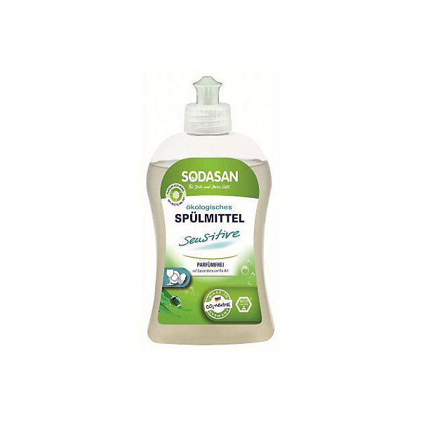 Средство для мытья посуды для чувствительной кожи 500мл, SodasanДетская бытовая химия<br>Эффективное и безопасное мытье посуды без лишних усилий! <br>Специально разработано для людей, склонных к аллергическим реакциям. <br>Без запаха! <br>Быстро удаляет загрязнения и жир. <br>Придает посуде блеск, не оставляет разводов. <br>Содержит только безопасные растительные ингредиенты органического происхождения. <br>Специальная формула защищает Ваши руки от пересыхания, делает их мягкими на ощупь. <br>Экономично в использовании! <br>Инновационный состав ПАВ обеспечивает 100% безопасность.<br> <br>Состав<br>Сахар ПАВ (тензид сахара) (Alkylpolyglucosides, APG), лимонная кислота, кокойл аланинат (Cocoylalaninate)<br>Сахар ПАВ (тензид сахара) (Alkylpolyglucosides, APG) – ПАВ, очень мягкие по отношению к коже, поддаются биохимическому разложению, не нанося вред окружающей среде. В их производстве используются растительные ингредиенты; кокосовое масло, сахар или крахмал.<br>Лимонная кислота -  органическая лимонная кислота, содержится во многих фруктах, лимонном и свекольном соках, молоке. Полностью биологически разлагается. Растворяет известковый налет даже при стойких отложениях. Корректирует уровень pH в жидких мылах. В обычных  моющих средствах используется химически синтезированная лимонная кислота.<br>Кокойл аланинат (Cocoylalaninate) – мягкий очищающий агент, полученный из L-аланина и кокосовых жирных кислот, создает стойкую мыльную пену.<br>Ширина мм: 250; Глубина мм: 100; Высота мм: 250; Вес г: 500; Возраст от месяцев: 216; Возраст до месяцев: 1188; Пол: Унисекс; Возраст: Детский; SKU: 5407617;