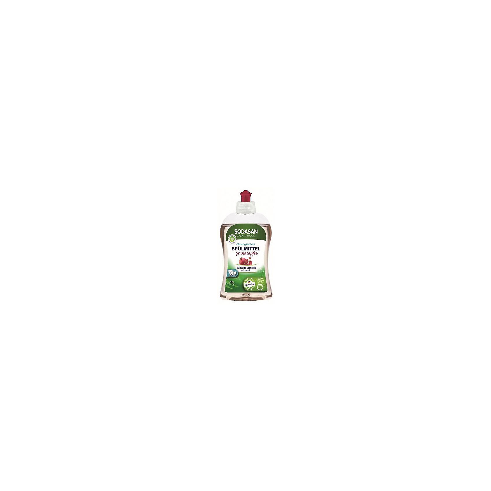 Средство для посуды с гранатом 500мл, SodasanБытовая химия<br>Качественно и безопасно моет посуду без лишних усилий! <br>Быстро удаляет загрязнения и жир! <br>Придаёт посуде блеск и не оставляет разводов. <br>В состав входят только безопасные растительные ингредиенты органического происхождения. <br>Специальная формула с гранатом защищает ваши руки от пересыхания и делает их мягкими на ощупь.  <br>Экономично в использовании!<br>Концентрированное жидкое средство для мытья посуды Гранат Sodasan качественно моет посуду, эффективно удаляет загрязнения и жир. <br>Не оставляет разводов после высыхания и придает ослепительный блеск. В состав средства входят отборные ингредиенты растительного происхождения, поэтому оно абсолютно безопасно для здоровья всех членов семьи! <br>Органический уксус в сочетании с натуральными ПАВ сахара без особых усилий справляются с самыми сложными загрязнениями. Эфирное гранатовое масло защищает руки от пересыхания, предупреждает шелушение кожи и придает ей удивительную гладкость. <br>Концентрированное средство Sodasan медленно расходуется и экономично в использовании!<br><br>Ширина мм: 250<br>Глубина мм: 100<br>Высота мм: 250<br>Вес г: 500<br>Возраст от месяцев: 216<br>Возраст до месяцев: 1188<br>Пол: Унисекс<br>Возраст: Детский<br>SKU: 5407620