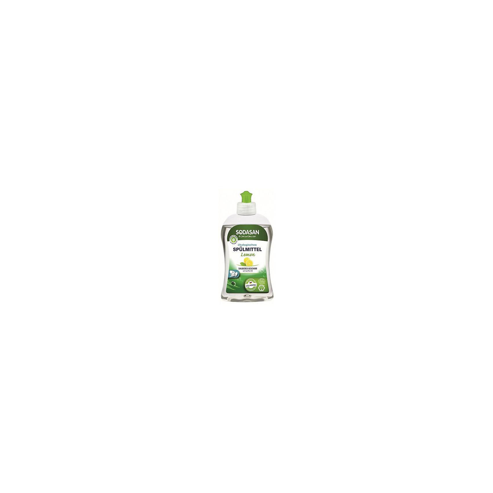 Средство для посуды с лимоном 500мл, SodasanБытовая химия<br>Качественно и безопасно моет посуду без лишних усилий! <br>Быстро удаляет загрязнения и жир! <br>Придаёт посуде блеск и не оставляет разводов. <br>В состав входят только безопасные растительные ингредиенты органического происхождения. <br>Специальная формула защищает Ваши руки от пересыхания и делает их мягкими на ощупь. <br>Экономично в использовании!<br> <br>SODASAN Органическое Универсальное средство мытья для посуды с Лимоном.<br>Универсальна для безопасного очищения! Можно использовать для мытья кастрюль, плиты, любых поверхностей на кухне и в доме. Может справиться с сильными загрязнениями, засохшими остатками пищи и жиром. <br>Способ использования: нанесите на губку и протрите загрязненные поверхности. Смойте водой.<br><br>Ширина мм: 250<br>Глубина мм: 100<br>Высота мм: 250<br>Вес г: 500<br>Возраст от месяцев: 216<br>Возраст до месяцев: 1188<br>Пол: Унисекс<br>Возраст: Детский<br>SKU: 5407622