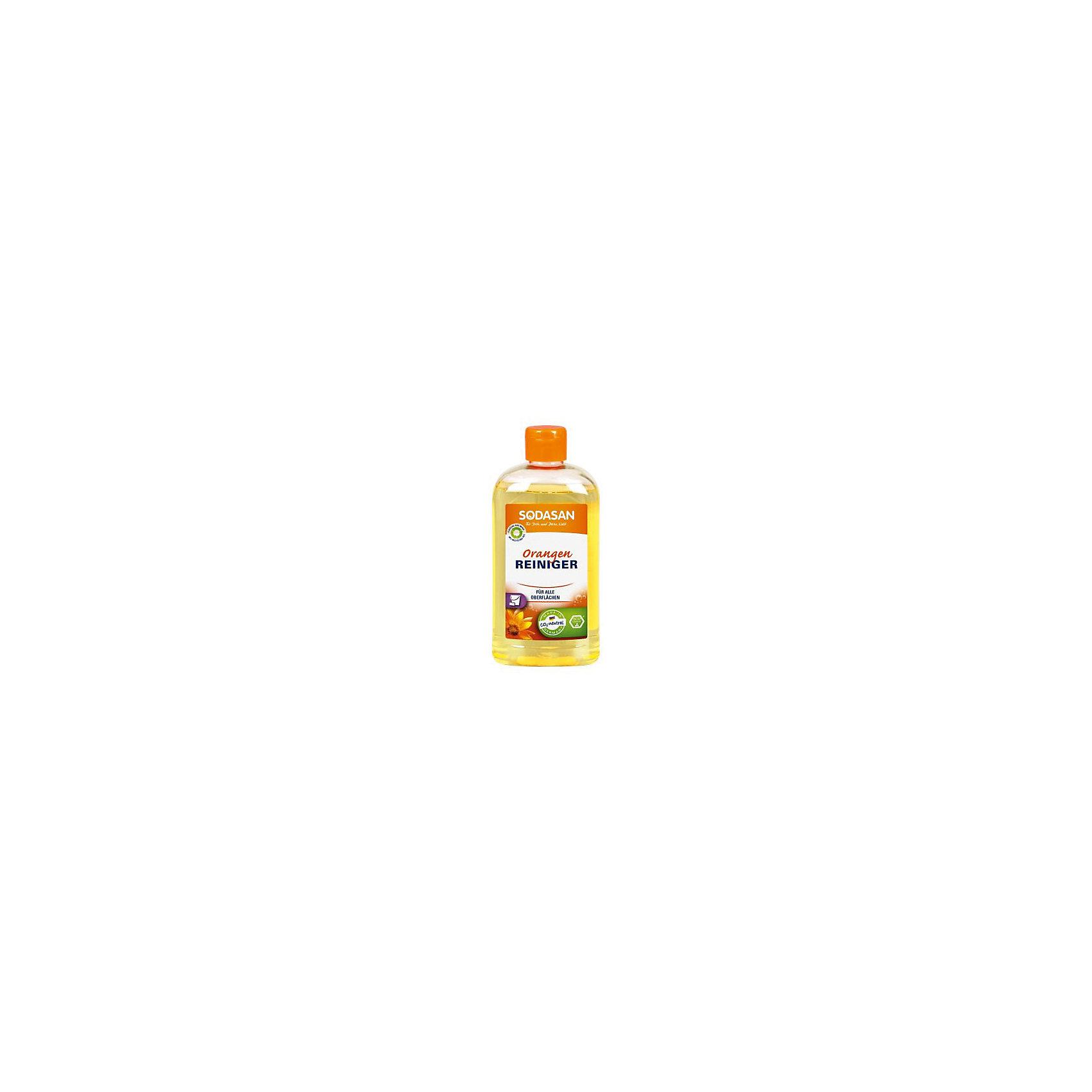 Средство универсальное моющее апельсин 500мл, SodasanБытовая химия<br>Универсальный очиститель с растворяющим действием<br>Преимущества:<br><br>универсальность применения, универсальный очиститель<br>естественный, свежий апельсиновый аромат<br>высококонцентрированный и эффективный<br>без красителей или консервантов<br>Использование:<br>Для тщательной очистки всех гладких, очищаемых поверхностей. Оставляет естественный свежий запах апельсинов.<br><br>Экологические преимущества:<br>Очищающее действие основано на естественном растворяющем свойстве апельсинового масла. Продукт является CO2-нейтральным. Мы используем только электроэнергию Greenpeace energy, следовательно, на 100% обходимся без ядерной энергии.<br><br>Ширина мм: 250<br>Глубина мм: 100<br>Высота мм: 250<br>Вес г: 500<br>Возраст от месяцев: 216<br>Возраст до месяцев: 1188<br>Пол: Унисекс<br>Возраст: Детский<br>SKU: 5407628