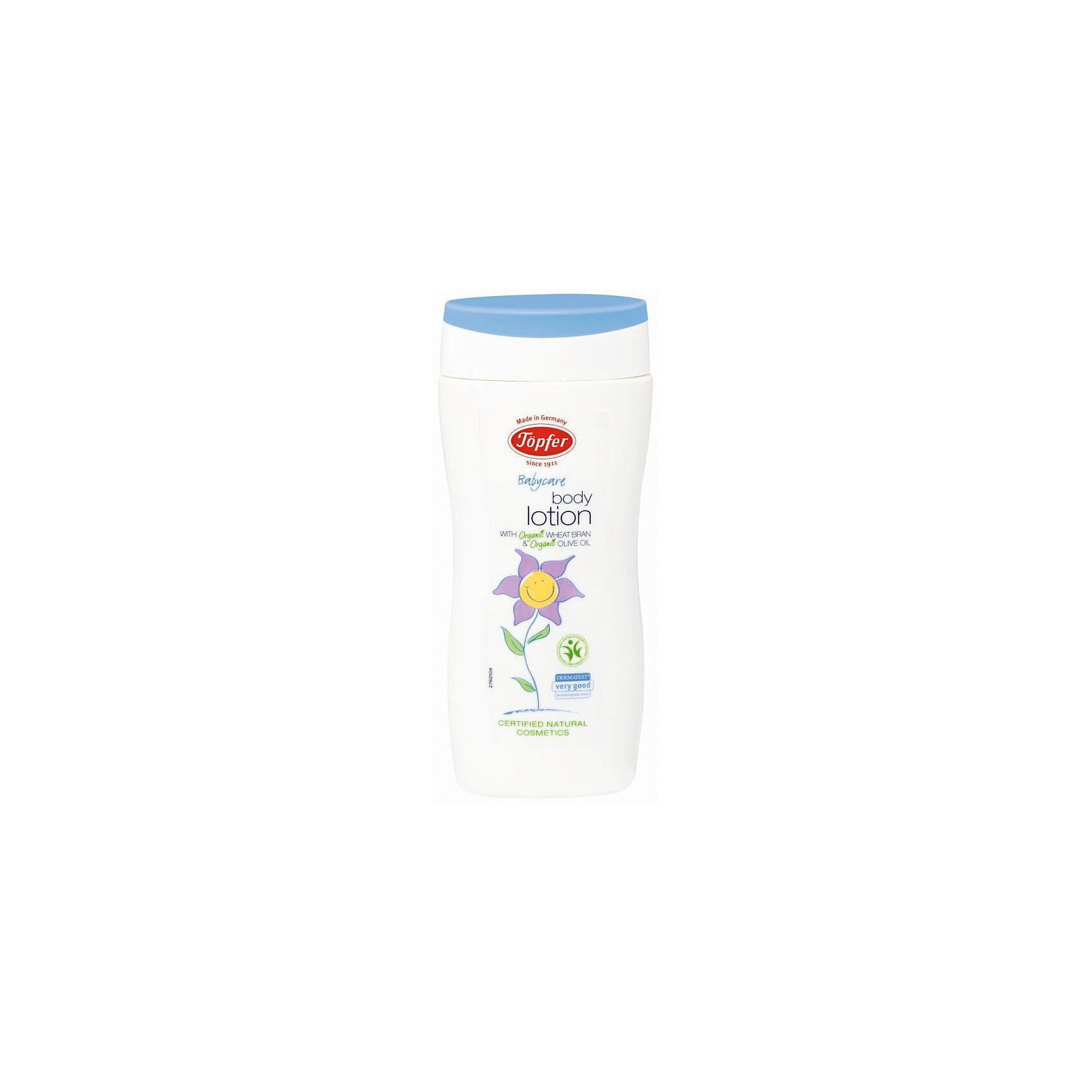 Увлажняющий лосьон детский 200 мл, TopferКосметика для младенцев<br>Topfer Молочко увлажняющее детское 200 мл.<br><br>Характеристики:<br><br>• объём: 200 мл.<br>• особенности: питает и увлажняет кожу, защищает<br>• состав: Вода, масла оливы, миндаля, семян пенника лугового, ши (карите), жожоба, подсолнечника, каприлик/каприловый триглицерид, глицерин, трикаприлин, глицерил стеарат цитрат, отдушка, гидрогенизированный пальмоядровый глицерид, гидрогенизированный глицерид пальмового масла, экстракты розмарина лекарственного, календулы лечебной, пшеничных отрубей, токоферол, глицерил каприлат, ксантановая смола, лимонная кислота, гидроксид натрия, цитрат натрия, D-лимонен**.<br>• для детей от 0 мес. <br>• страна производитель: Германия<br><br>Более 100 лет немецкая компания натуральной косметики Topfer (Топфер) заботится о малышах, будущих мамах и природе. Молочко для ухода за малышом оберегает нежную кожу от внешнего воздействия солнечных лучей, контакта с одеждой или подгузником. Легкая кремистая текстура удобно наносится и сверхбыстро впитывается. <br><br>Молочко отлично питает кожу, смягчая ее и придавая упругость. Природные компоненты состава масла не провоцируют аллергию, его формула проверена дерматологами и не провоцирует раздражения. Флакон оснащен практичным дозатором. Ощутите бережную заботу с молочком от Topfer (Топфер)!<br><br>Topfer Молочко увлажняющее детское 200 мл. можно купить в нашем интернет-магазине.<br><br>Ширина мм: 250<br>Глубина мм: 100<br>Высота мм: 250<br>Вес г: 75<br>Возраст от месяцев: 36<br>Возраст до месяцев: 1188<br>Пол: Унисекс<br>Возраст: Детский<br>SKU: 5407664