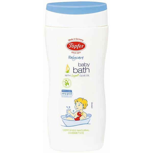 Средство для купания детское 200мл, TopferТравы и соли для купания<br>Может применяться с первых дней жизни.<br>• Средство идеально подходит для ванны или душа.<br>• Содержит экстракт органических отрубей пшеницы, оливковое масло<br>и молочный протеин.<br>• Мягко очищает и увлажняет детскую кожу.<br>• Рекомендуется для чувствительной и склонной к сухости кожи.<br>• Формирует естественный гидролипидный защитный барьер на коже<br>малыша.<br>Состав: Вода, коко-глюкозид, содиум коко-гликозид тартрат, масло<br>оливы*, отдушка**, сорбитан оливат, натрия пирролидонкарбонат,<br>цетиловый спирт, экстракт пшеничных отрубей*, молочный протеин*,<br>сыворотка*, лактоза, масло ши*, масло жожоба*, масло миндаля*,<br>масло подсолнечника*, экстракт розмарина лечебного*, масло семян<br>пенника лугового, токоферол, цетеарил оливат, глицерил каприлат,<br>ксантановая смола, цитрат натрия, фитат натрия, лимонная кислота,<br>гидроксид натрия, D-лимонен*<br>Дозировка: Для детей: влейте 2-3 струйки средства ( для взрослых 6-8<br>струек) в приготовленную воду. Температура воды должна быть 37°С.<br>Продолжительность ванны 5-10 минут.<br>• Объем: 200 мл<br>• Дозировка: Для детей: влейте 2-3 струйки средства ( для взрослых 6-8<br>струек) в приготовленную воду. Температура воды должна быть 37°С.<br>Продолжительность ванны 5-10 минут.<br>Арт: 60368100<br>Ширина мм: 250; Глубина мм: 100; Высота мм: 250; Вес г: 200; Возраст от месяцев: 0; Возраст до месяцев: 36; Пол: Унисекс; Возраст: Детский; SKU: 5407667;