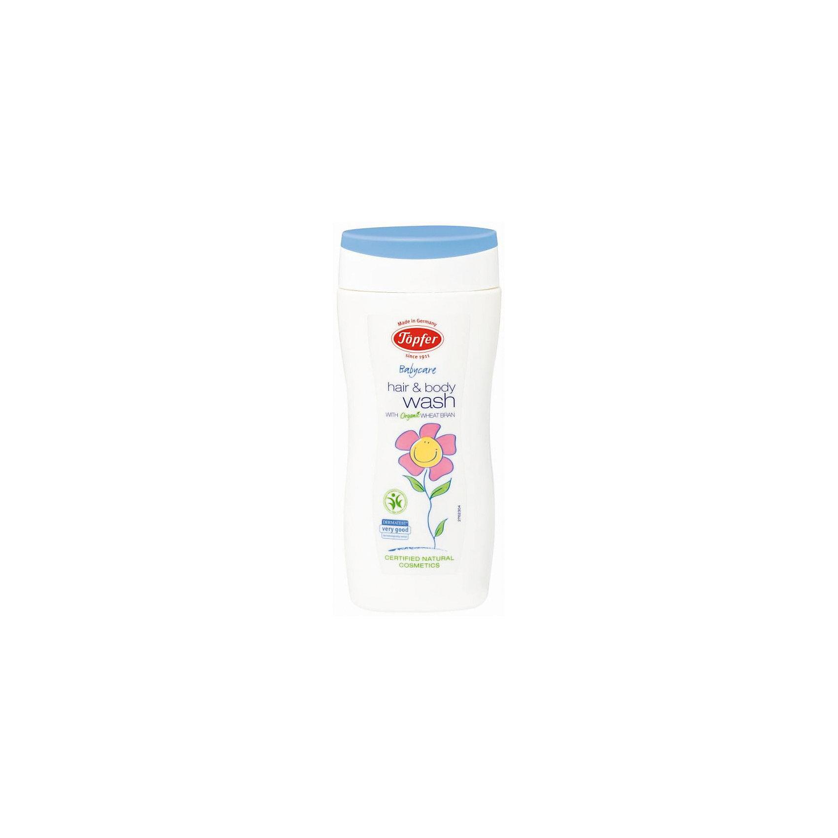 Шампунь-гель для мытья волос и тела детский 200мл, TopferКупание малыша<br>Идеальное сочетание шампуня и геля 2 в 1.<br>• Мягко очищает волосы и кожу головы, ухаживает за кожей<br>тела.<br>• Содержит экстракт органических пшеничных отрубей,<br>календулу и оливковое масло.<br>• Рекомендуется для интимной гигиены при смене<br>подгузников.<br>• Не содержит мыла.<br>Состав: Вода, коко-гликозид, каприлил, каприл<br>гликозид,глицерин, отдушка**, ксантановая смола, бетаин,<br>экстракт цветов календулы лекарственной, экстракт<br>пшеничных отрубей*, содиум коко-гликозид, тартрат,<br>глицерил олеат, гидролизованный пшеничный протеин,<br>масло семян пенника лугового, ксилитилгликозид,<br>ангидроксилитол, экстракт листьев розмарина<br>лекарственного*, ксилитол, содиум фитат, содиум цитрат,<br>содиум гидроксид, лимонная кислота, D-лимонен**<br>Способ применения: Массирующими движениями распределить<br>гель по волосам и телу. Затем смыть водой.<br>• 200 мл<br>• Арт: 60371100<br><br>Ширина мм: 250<br>Глубина мм: 100<br>Высота мм: 250<br>Вес г: 250<br>Возраст от месяцев: 24<br>Возраст до месяцев: 84<br>Пол: Унисекс<br>Возраст: Детский<br>SKU: 5407669
