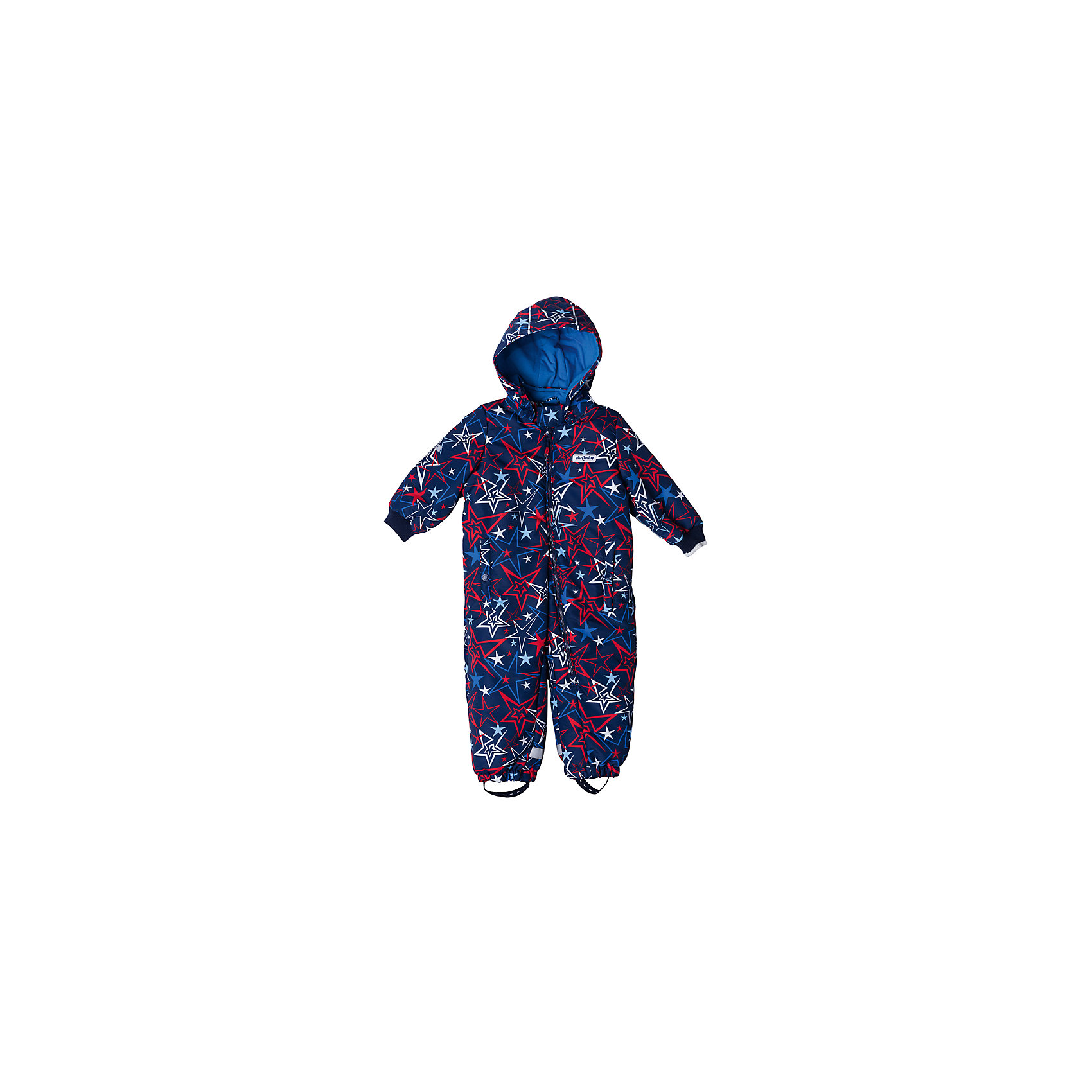 Комбинезон PlayToday для мальчикаВерхняя одежда<br>Характеристики товара:<br><br>• цвет: синий<br>• состав: 100% полиэстер<br>• подкладка: 80% хлопок, 20% полиэстер<br>• утеплитель: 100% полиэстер, 150 г/м2<br>• температурный режим: от +0°С до +15°С<br>• сезон: демисезон<br>• с текстильными штрипкками для фиксации обуви<br>• защита подбородка от молнии<br>• ассиметричная молний<br>• эластичные манжеты<br>• светоотражающие элементы<br>• капюшон<br>• страна бренда: Германия<br>• страна производства: Китай<br><br>Утепленный комбинезон прекрасно подойдет для холодной ветреной погоды. Ассиметричное расположение застежки - молнии позволит легко снимать и одевать данное изделие. Натуральный материал подкладки приятен к телу. Специальный карман для застежки молнии не позволит застежке травмировать нежную кожу ребенка. <br><br>Низ брючин и манжеты на мягких резинках для дополнительного сохранения тепла. Модель со специальными резинками для фиксации обуви. Комбинезон со специальными светоотражающими элементами. Ваш ребенок будет виден в темное время суток.<br><br>Комбинезон для мальчика от известного бренда PlayToday можно купить в нашем интернет-магазине.<br><br>Ширина мм: 157<br>Глубина мм: 13<br>Высота мм: 119<br>Вес г: 200<br>Цвет: белый<br>Возраст от месяцев: 12<br>Возраст до месяцев: 15<br>Пол: Мужской<br>Возраст: Детский<br>Размер: 80,74,86,92<br>SKU: 5407685