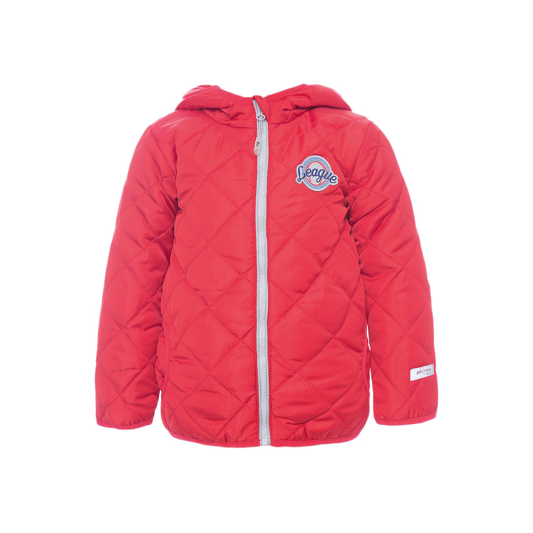 Куртка для мальчика PlayTodayВерхняя одежда<br>Куртка для мальчика PlayToday<br>Утепленная стеганая куртка - прекрасное решение для прохладной погоды. Мягкие трикотажные резинки на рукавах защитят Вашего ребенка - ветер не сможет проникнуть под куртку.  Специальный карман для фиксации застежки-молнии не позволит застежке травмировать нежную детскую кожу. Мягкая резинка на капюшоне не позволит ему упасть с головы вашего ребенка даже во время активных игр. Модель снабжена светоотражателями на рукаве и по низу изделия - Ваш ребенок будет виден даже в темное время сутокПреимущества: Защита подбородка. Специальный карман для фиксации застежки-молнии. Наличие данного кармана не позволит застежке -молнии травмировать нежную кожу ребенкаСветооражательВодоооталкивающая пропитка<br>Состав:<br>Верх: 100% полиэстер, подкладка: 80% хлопок, 20% полиэстер, Утеплитель 100% полиэстер, 150 г/м2<br><br>Ширина мм: 356<br>Глубина мм: 10<br>Высота мм: 245<br>Вес г: 519<br>Цвет: красный<br>Возраст от месяцев: 6<br>Возраст до месяцев: 9<br>Пол: Мужской<br>Возраст: Детский<br>Размер: 74,92,80,86<br>SKU: 5407695
